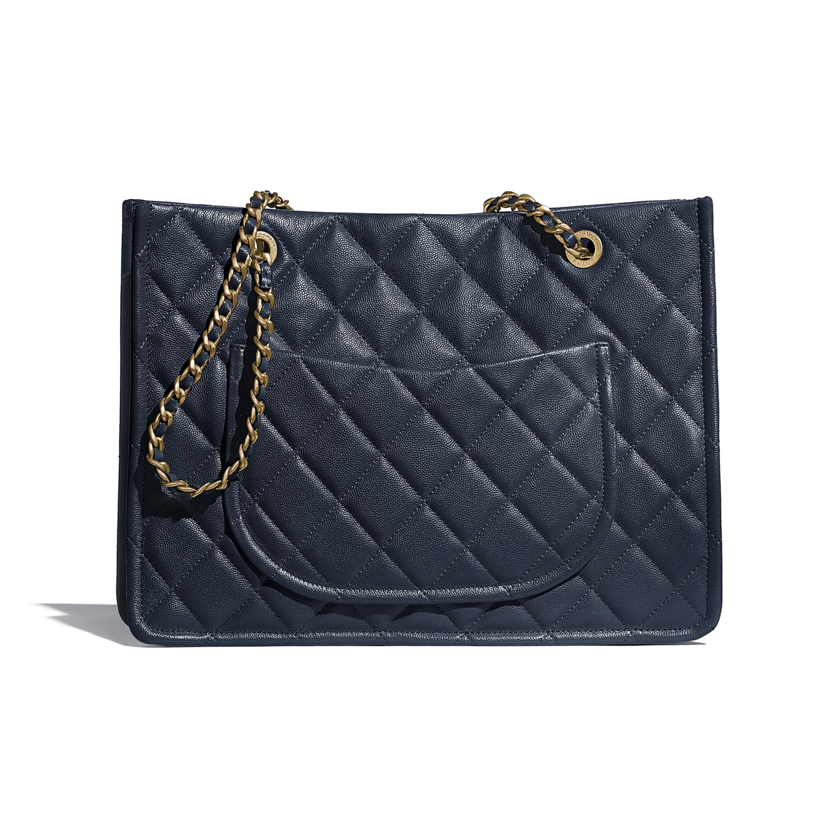 Large Tote - Navy Blue - Grained Calfskin & Gold-Tone Metal - CHANEL - Alternative view - see standard sized version