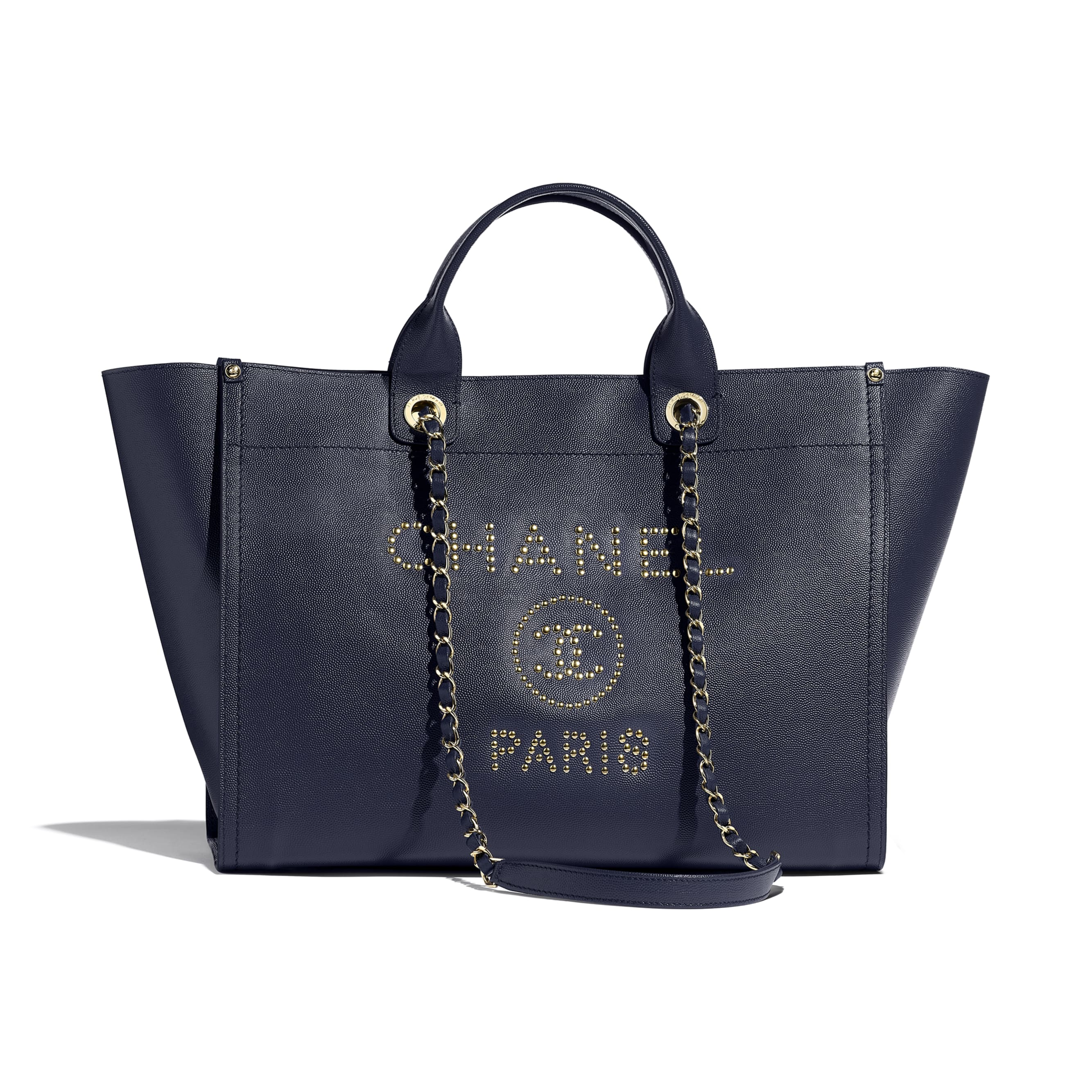 Large Shopping Bag - Navy Blue - Grained Calfskin & Gold-Tone Metal - CHANEL - Default view - see standard sized version