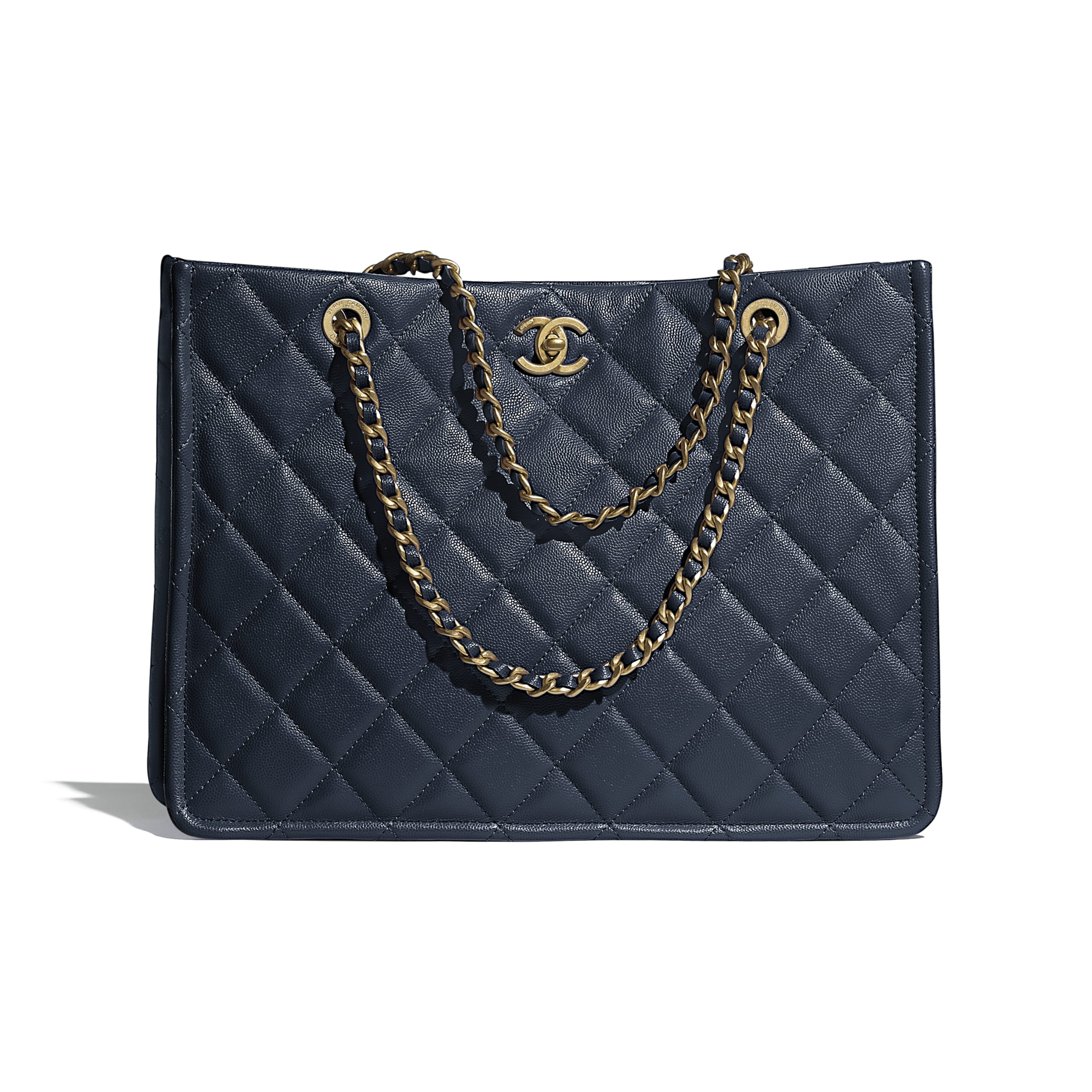 Large Tote - Navy Blue - Grained Calfskin & Gold-Tone Metal - CHANEL - Default view - see standard sized version