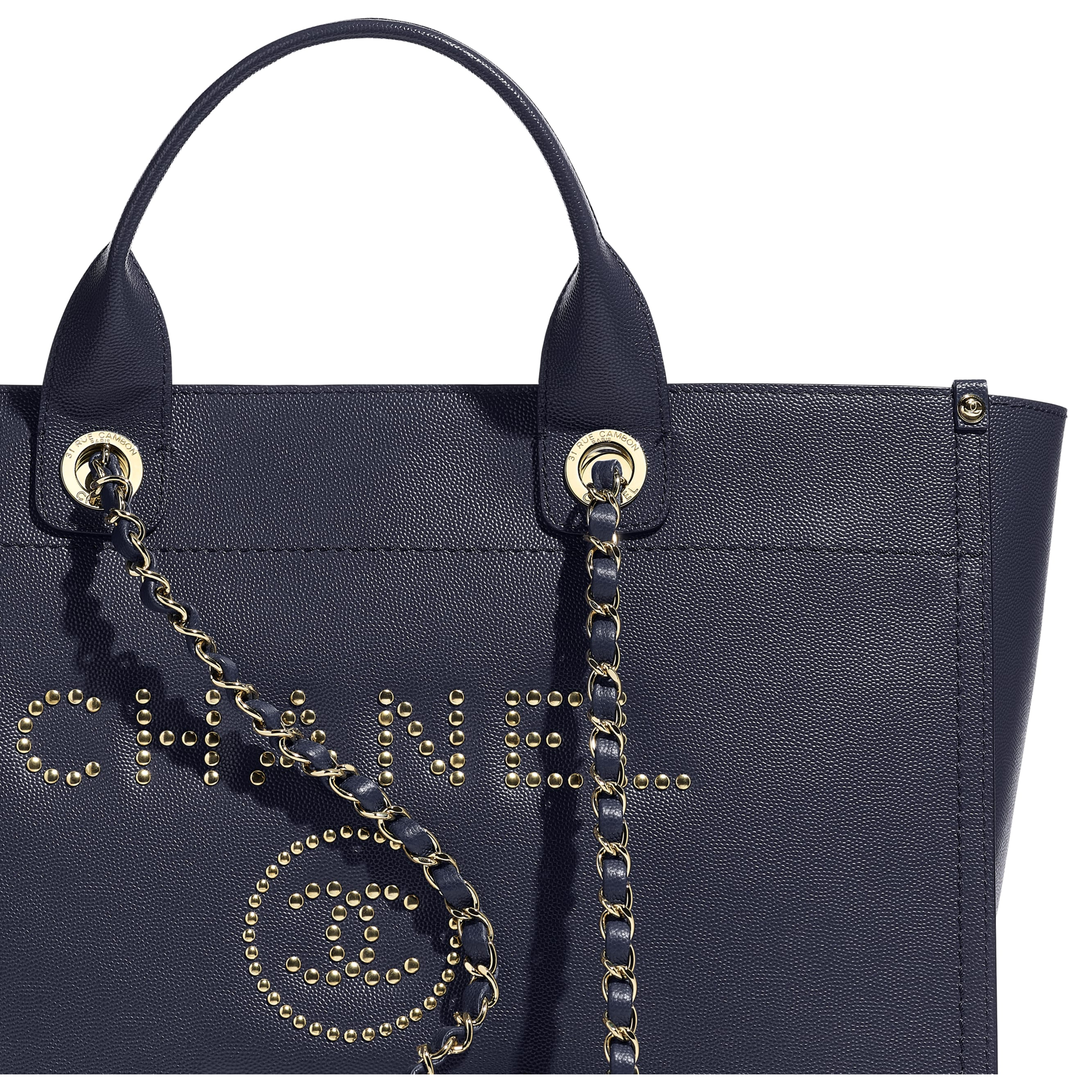 Large Shopping Bag - Navy Blue - Grained Calfskin & Gold-Tone Metal - CHANEL - Extra view - see standard sized version