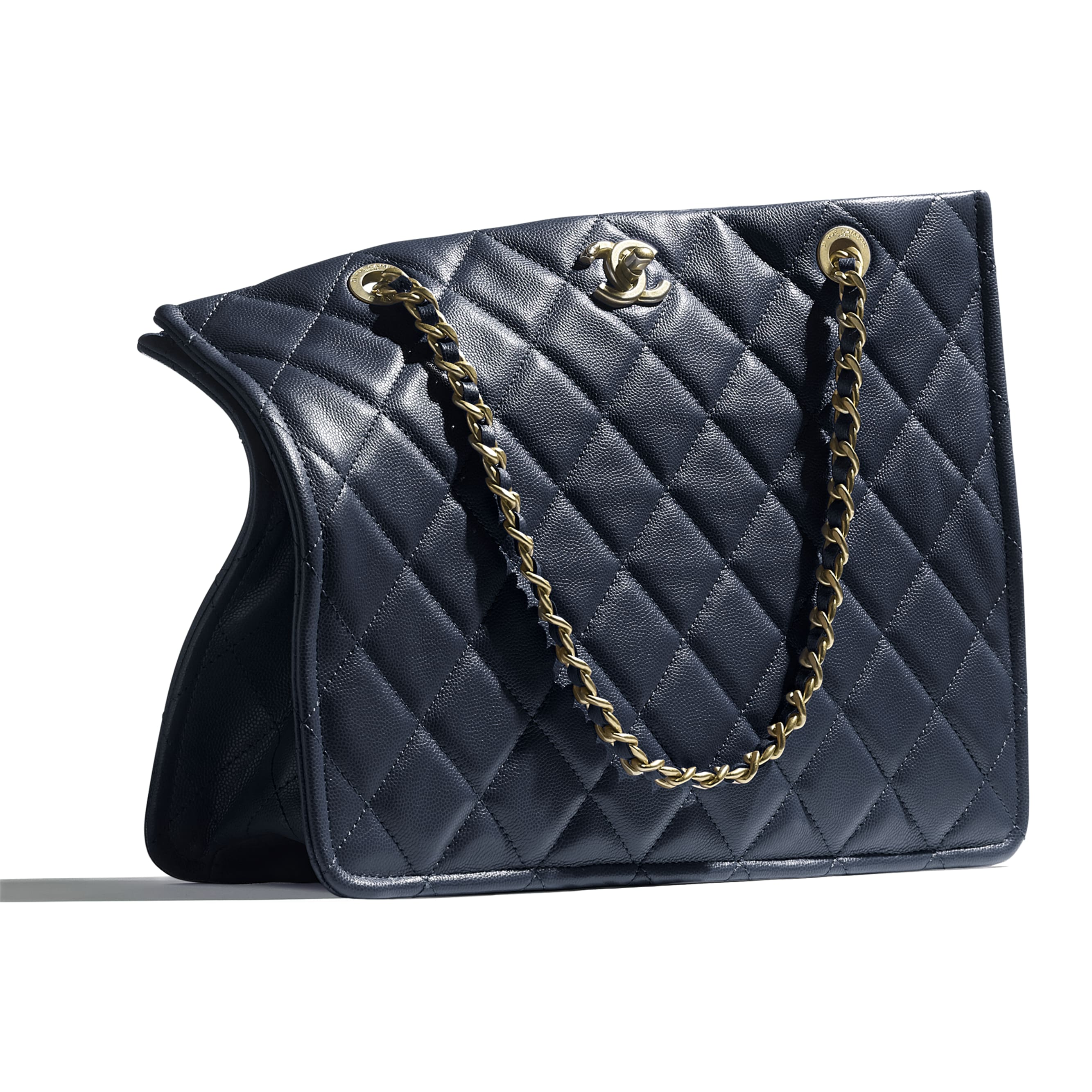 Large Tote - Navy Blue - Grained Calfskin & Gold-Tone Metal - CHANEL - Extra view - see standard sized version