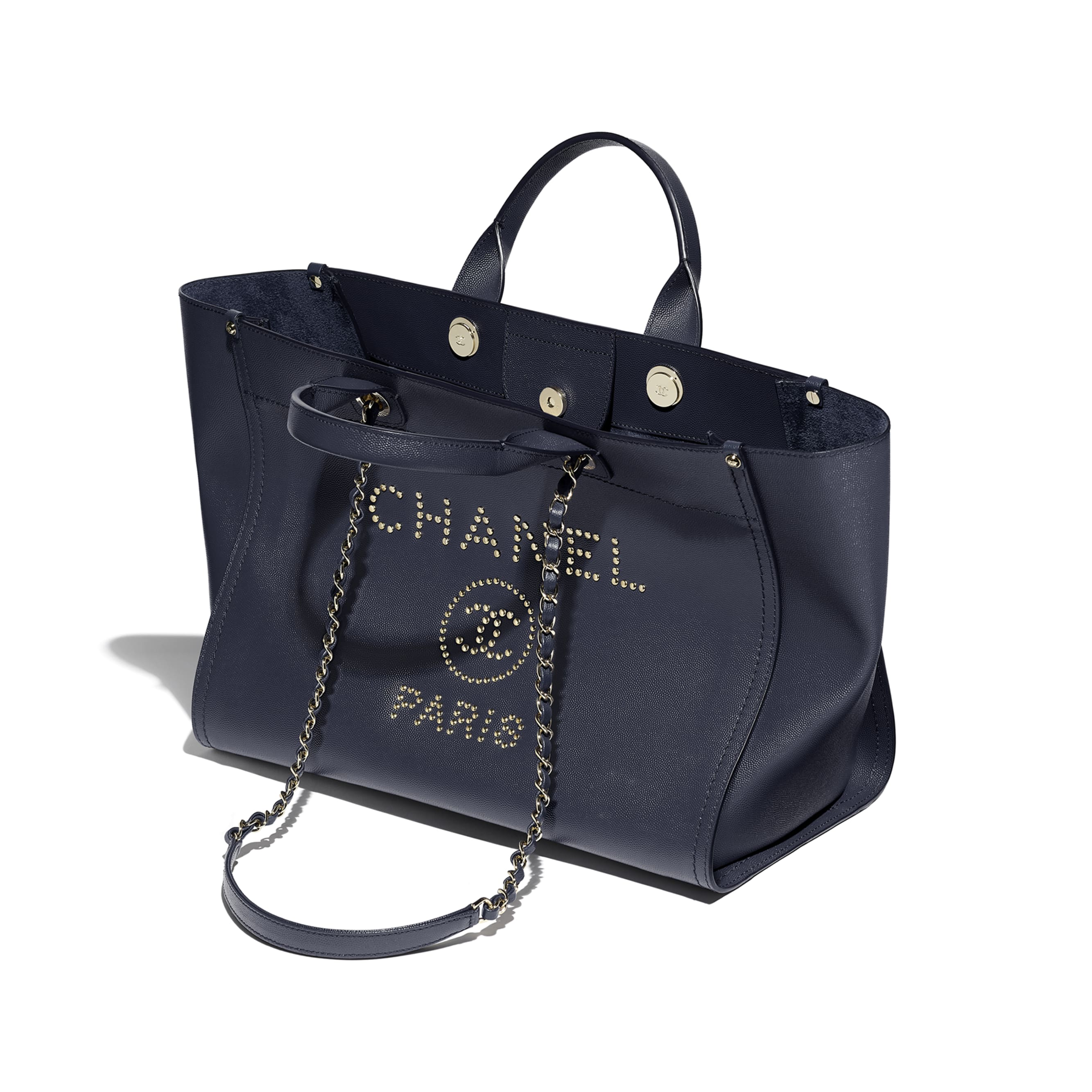 Large Shopping Bag - Navy Blue - Grained Calfskin & Gold-Tone Metal - CHANEL - Other view - see standard sized version