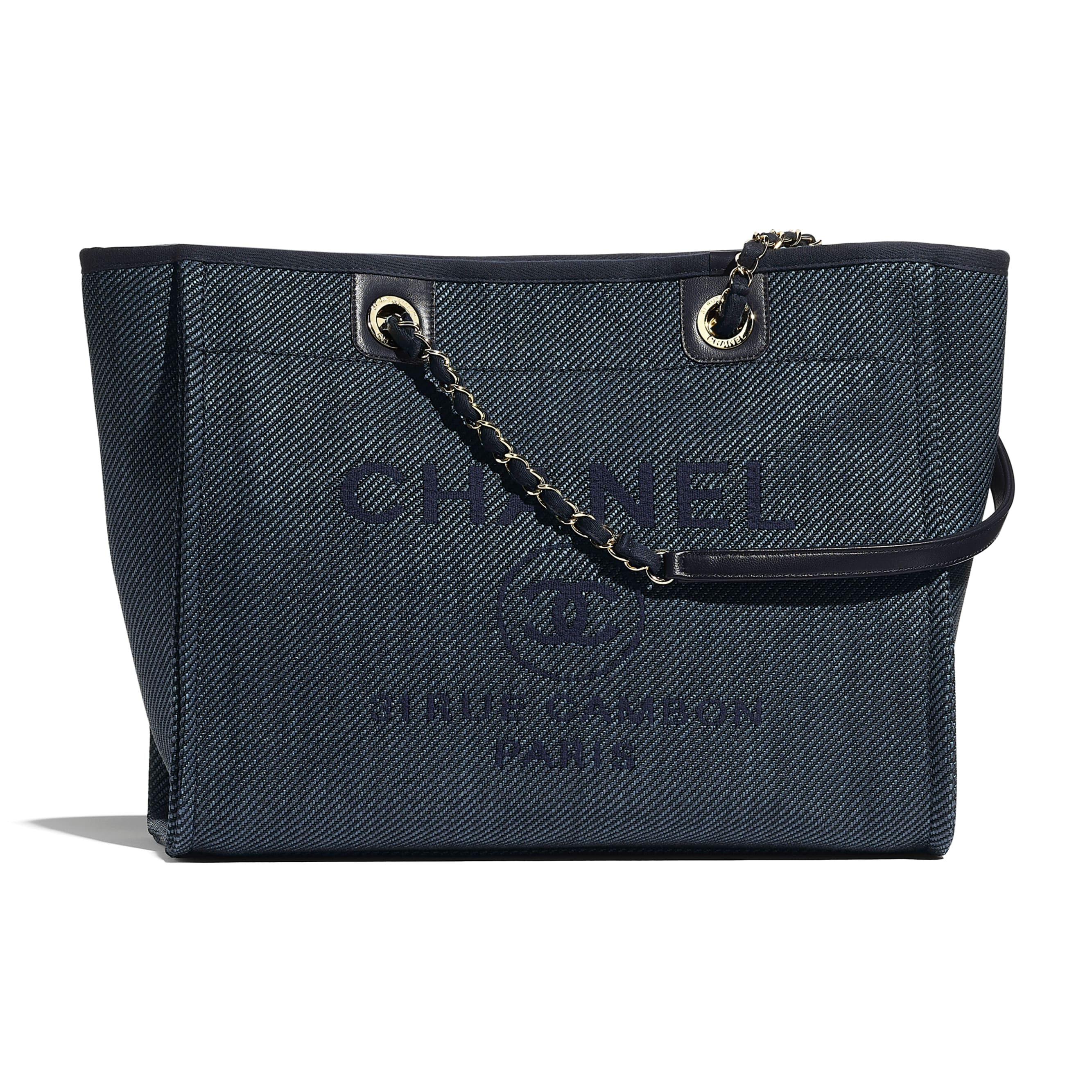 Large Tote - Navy Blue - Mixed Fibres, Calfskin & Gold-Tone Metal - CHANEL - Default view - see standard sized version