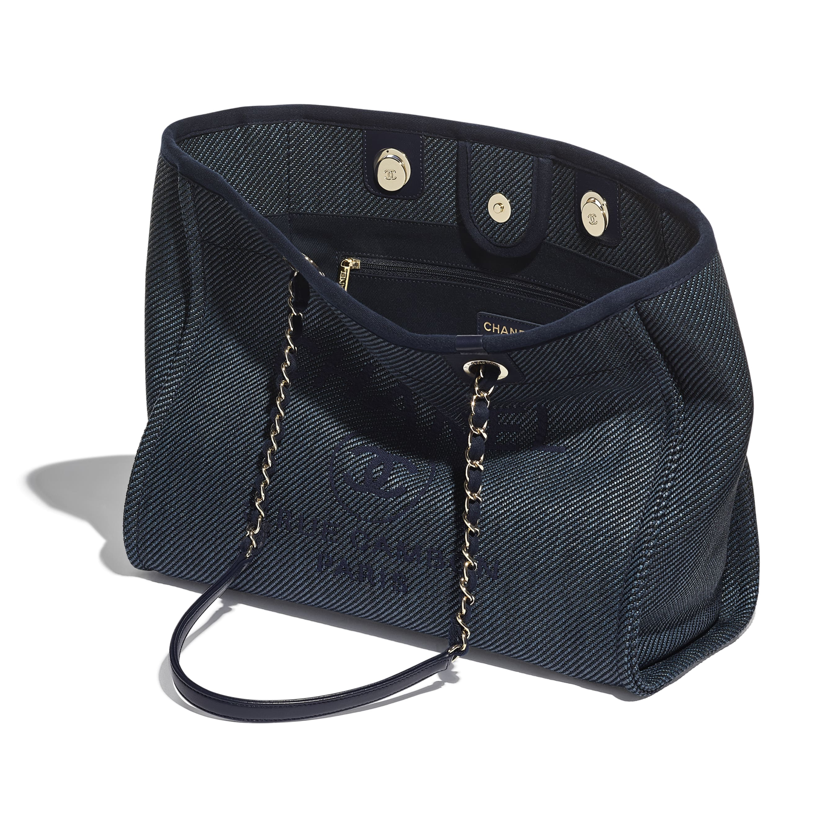 Large Tote - Navy Blue - Mixed Fibres, Calfskin & Gold-Tone Metal - CHANEL - Other view - see standard sized version