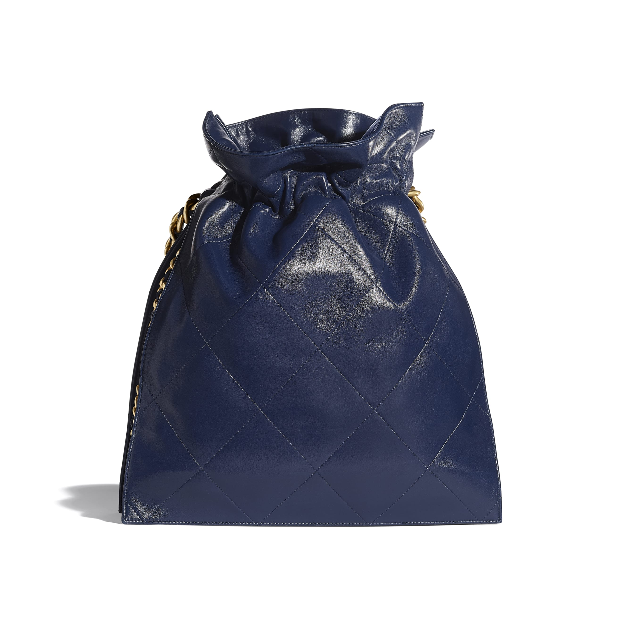 Large Tote - Navy Blue - Shiny Lambskin & Gold-Tone Metal - CHANEL - Alternative view - see standard sized version