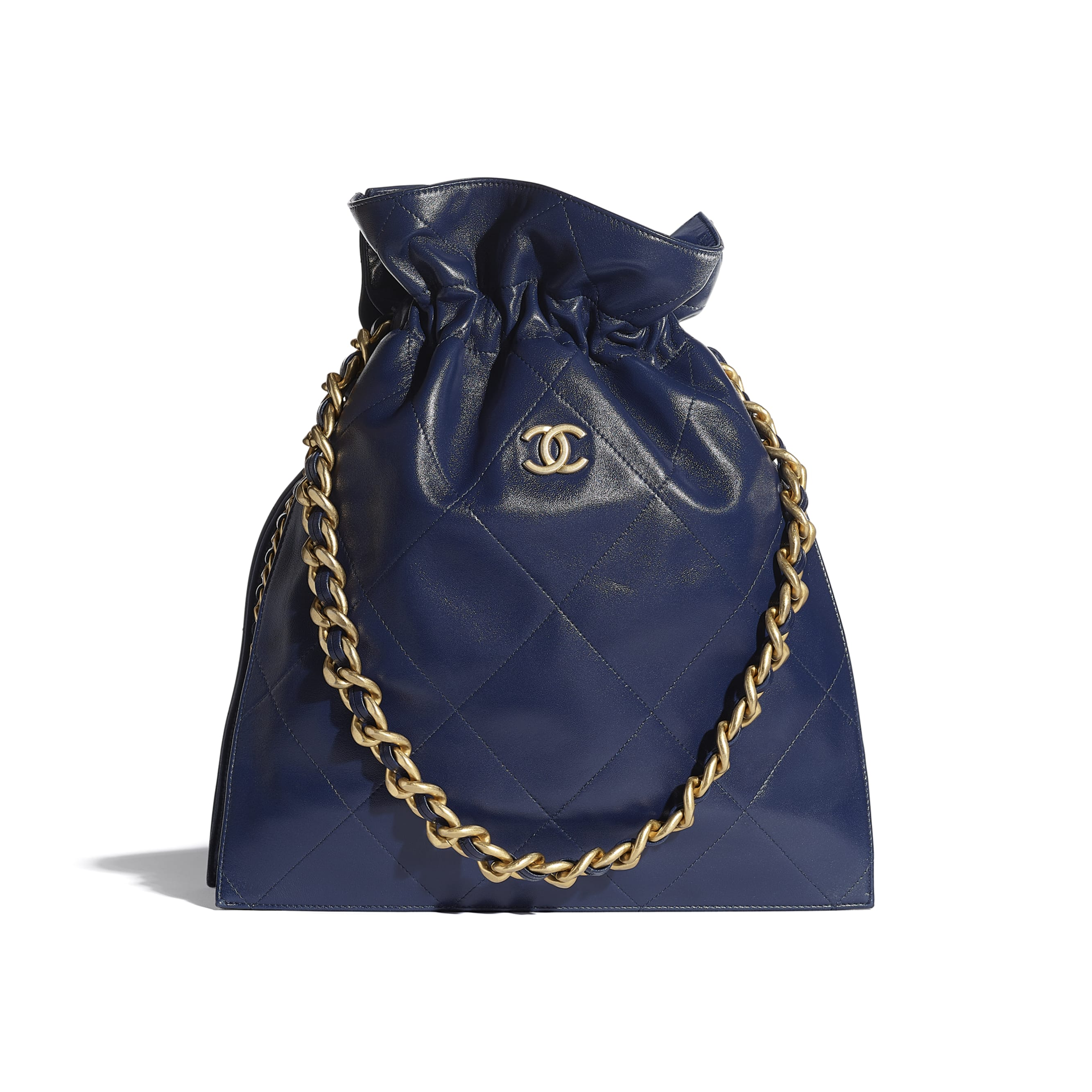 Large Tote - Navy Blue - Shiny Lambskin & Gold-Tone Metal - CHANEL - Default view - see standard sized version