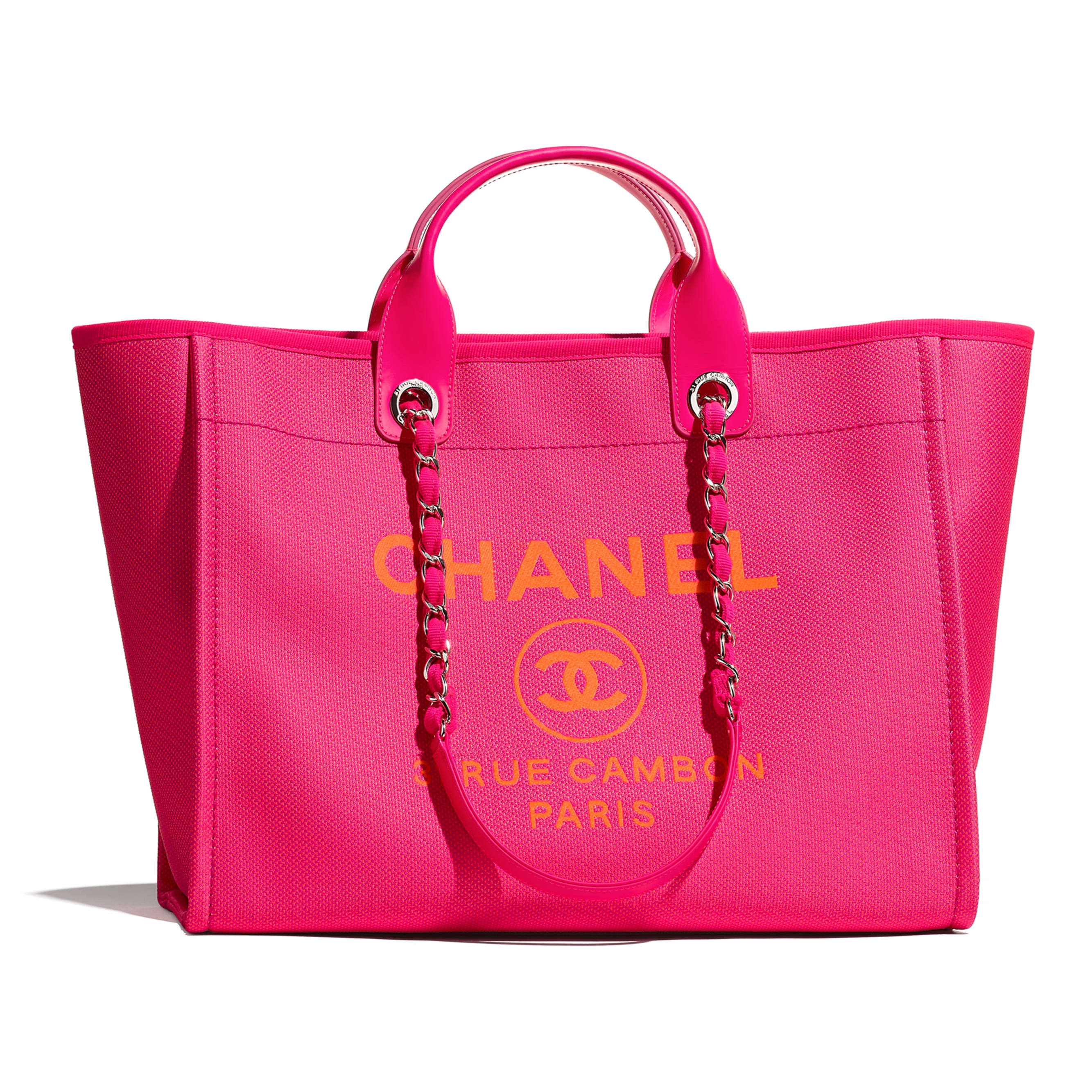 Large Tote - Pink & Orange - Mixed Fibers & Silver-Tone Metal - CHANEL - Default view - see standard sized version