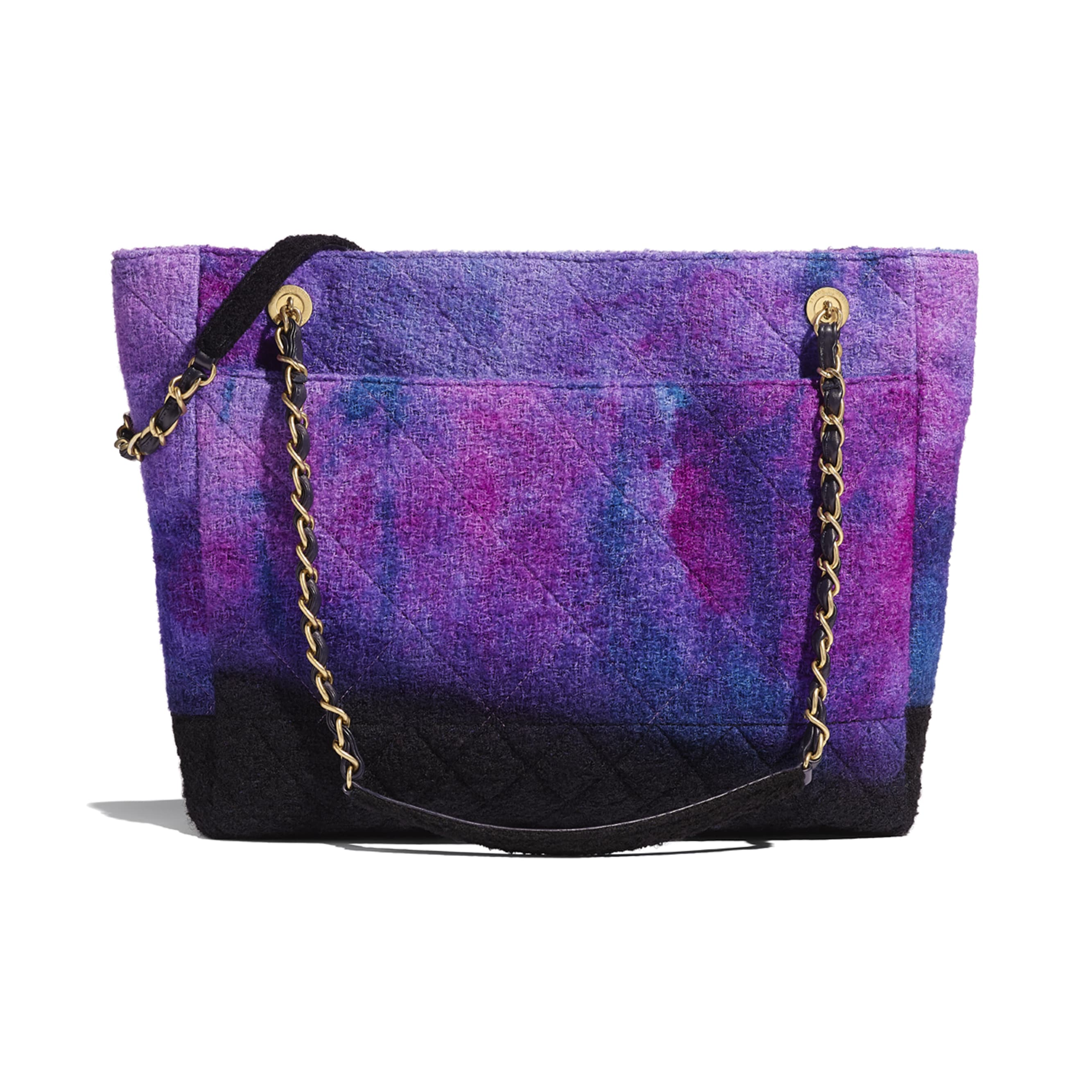 Large Tote - Purple, Black & Blue - Wool Tweed & Gold-Tone Metal - CHANEL - Alternative view - see standard sized version