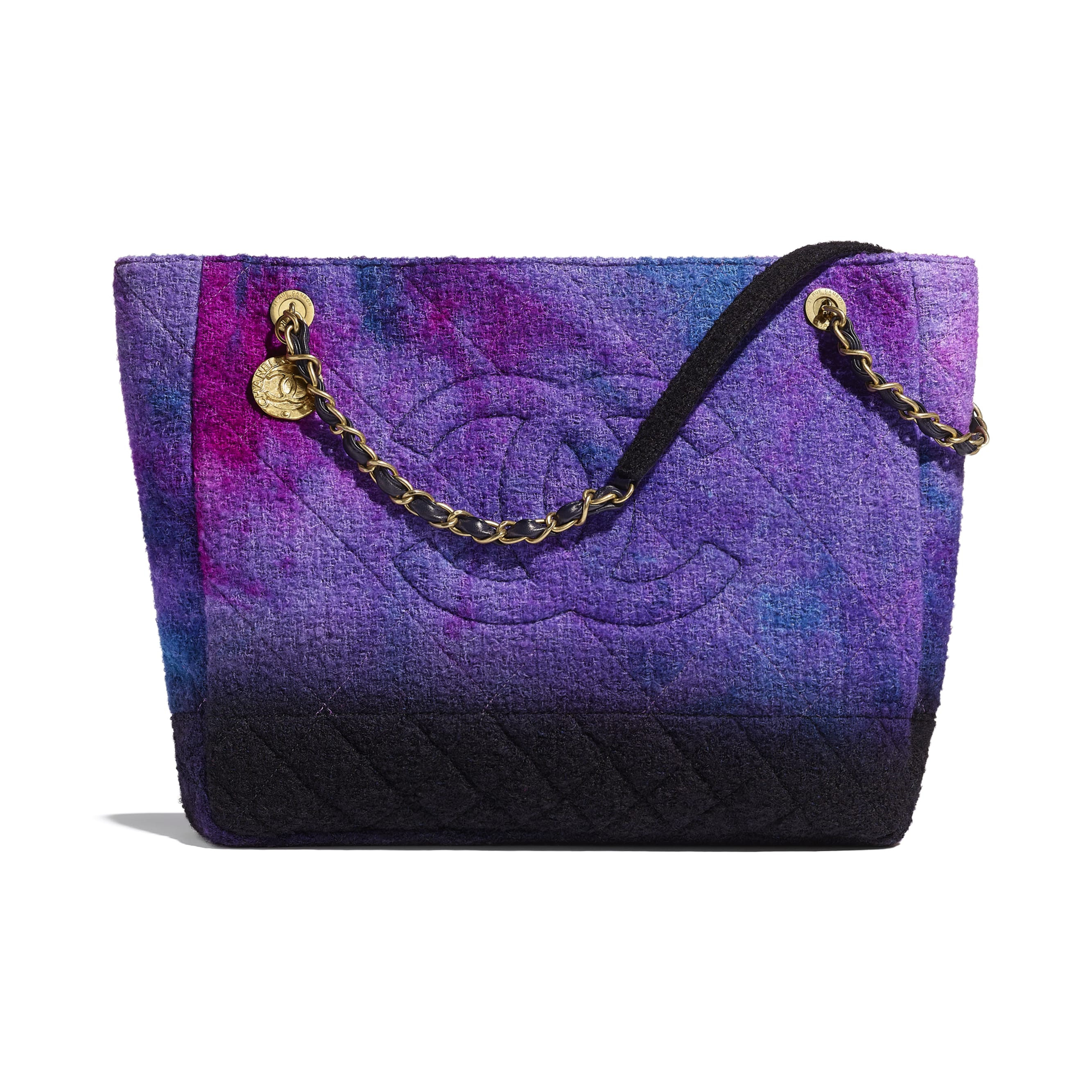 Large Tote - Purple, Black & Blue - Wool Tweed & Gold-Tone Metal - CHANEL - Default view - see standard sized version