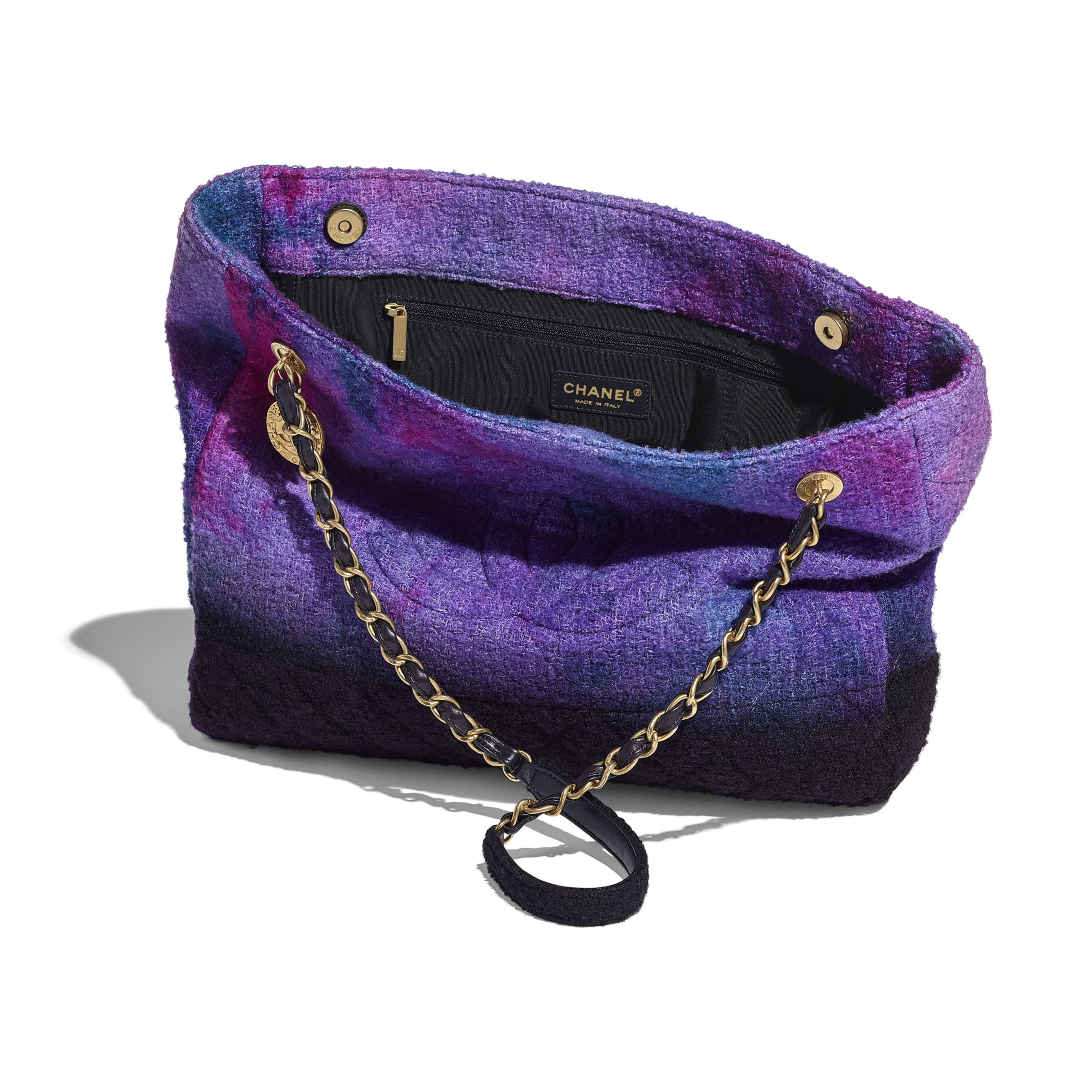 Large Tote - Purple, Black & Blue - Wool Tweed & Gold-Tone Metal - CHANEL - Other view - see standard sized version