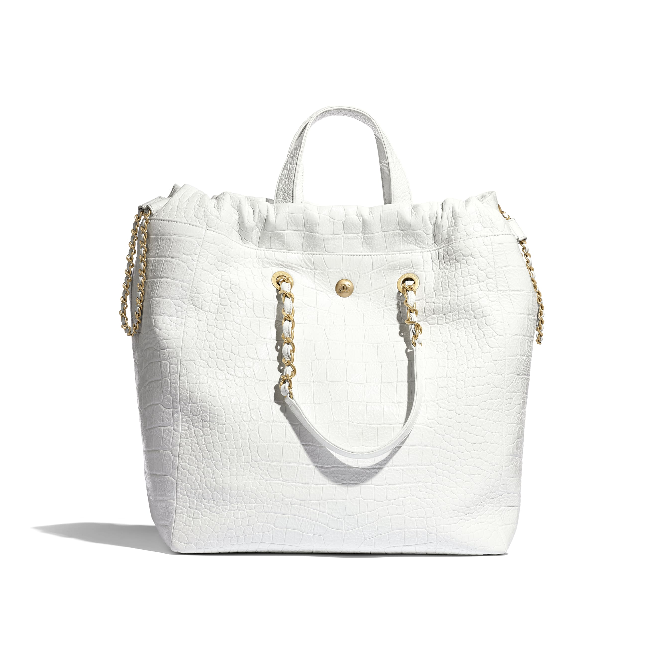 Large Shopping Bag - White - Crocodile Embossed Printed Leather & Gold-Tone Metal - Alternative view - see standard sized version