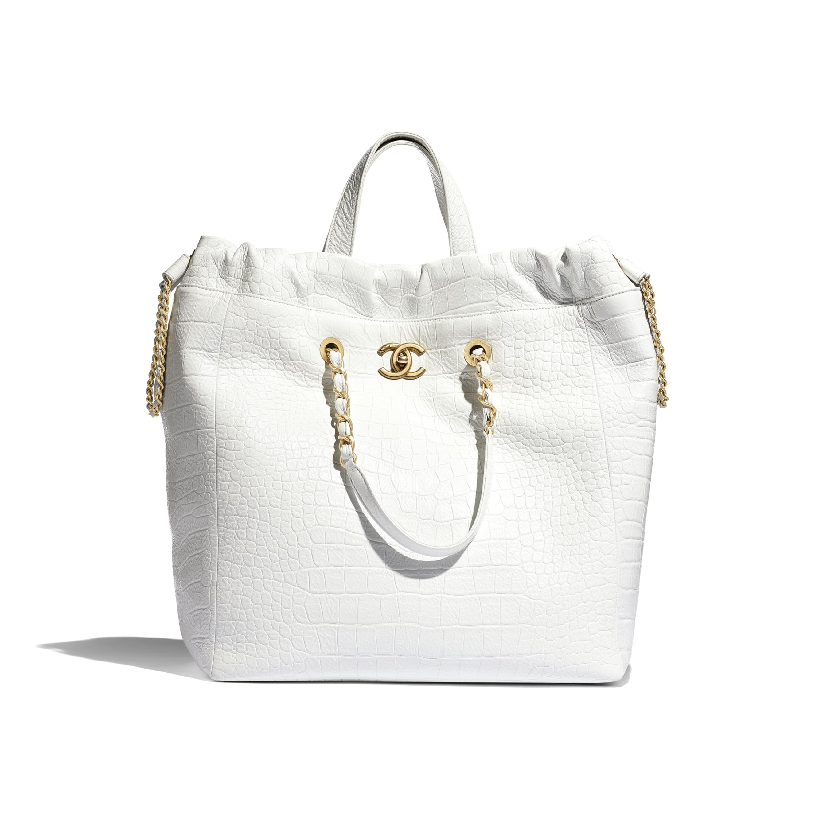 Large Shopping Bag - White - Crocodile Embossed Printed Leather & Gold-Tone Metal - Default view - see standard sized version