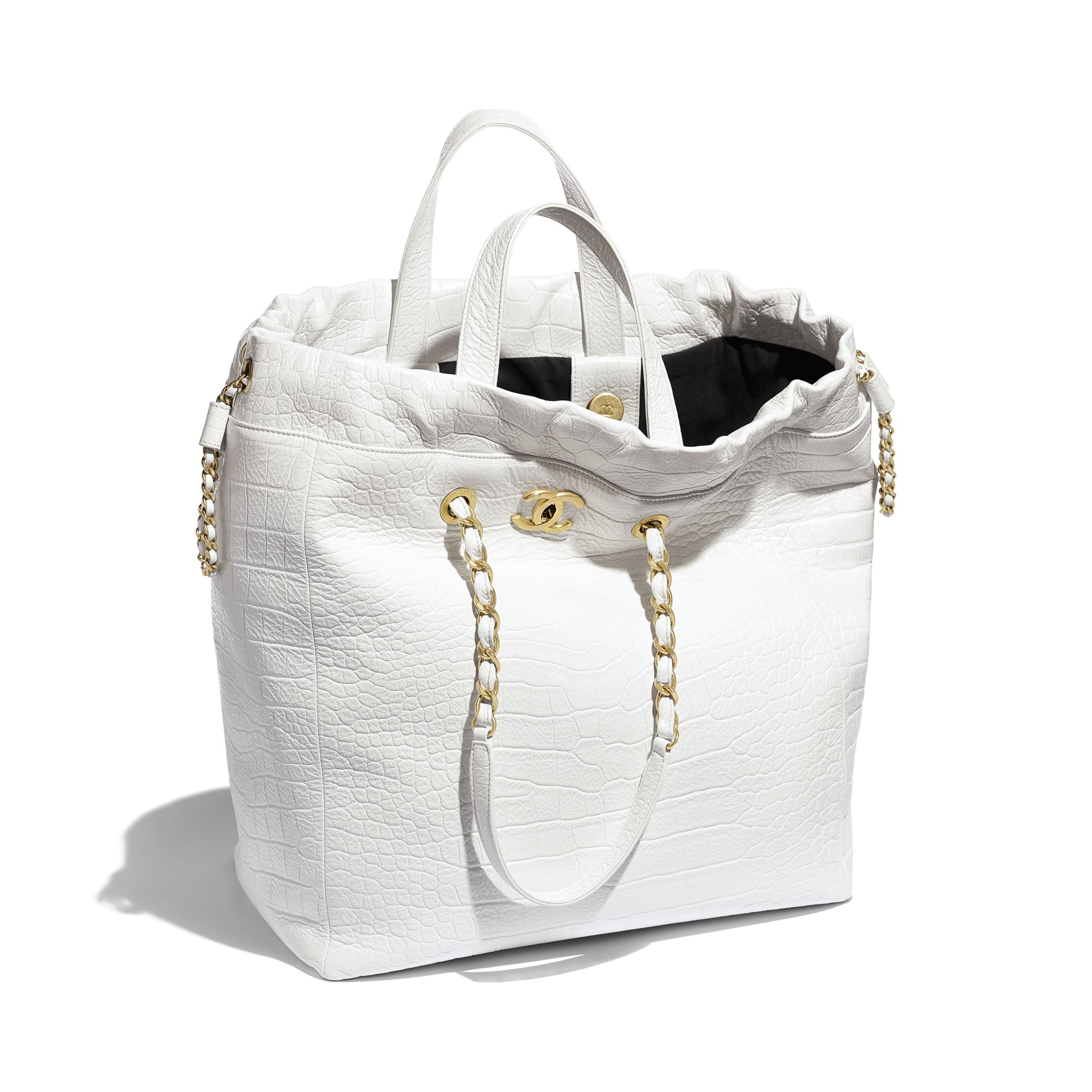 Large Shopping Bag - White - Crocodile Embossed Printed Leather & Gold-Tone Metal - Other view - see standard sized version