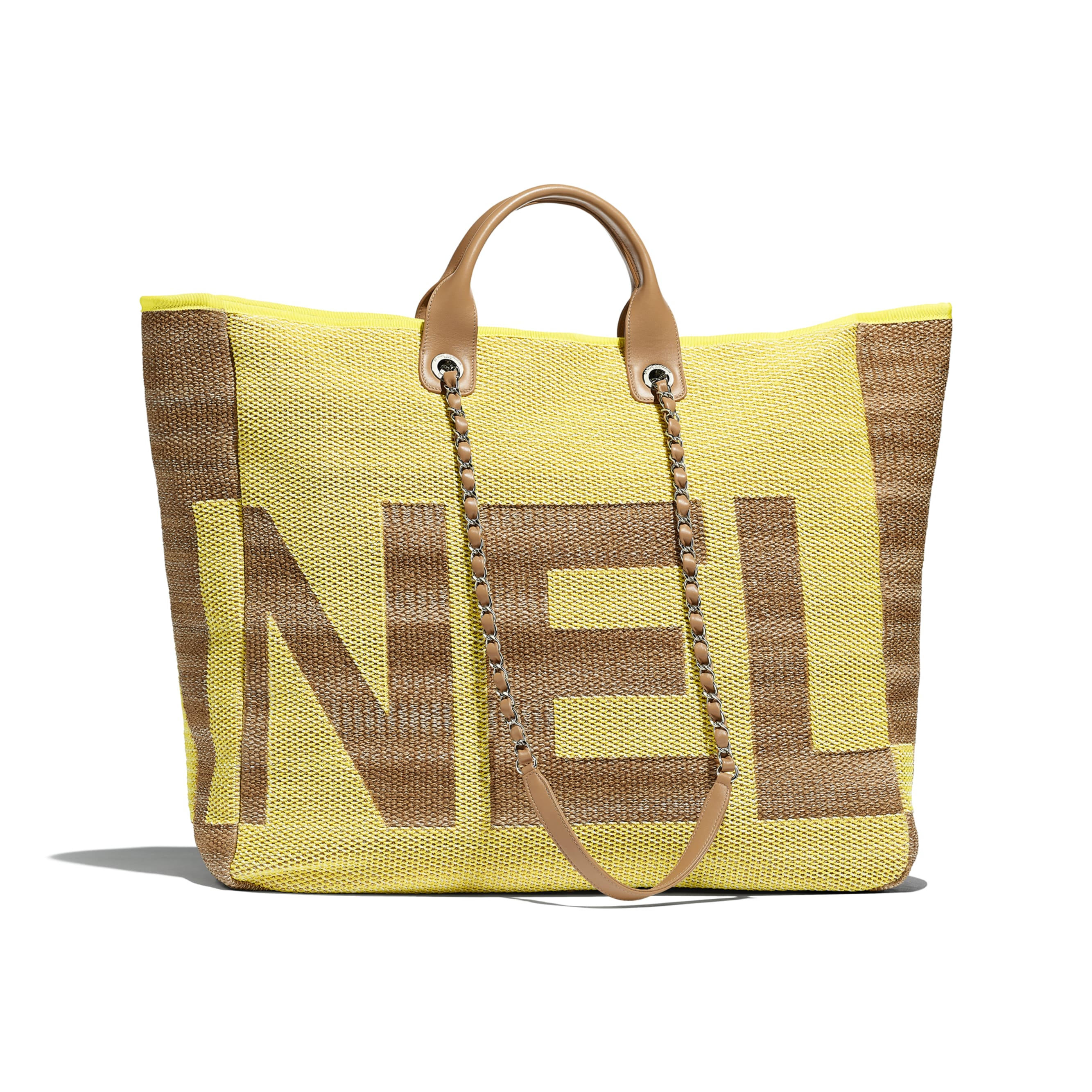 Large Shopping Bag - Yellow & Dark Beige - Mixed Fibers, Viscose, Calfskin & Silver-Tone Metal - Alternative view - see standard sized version