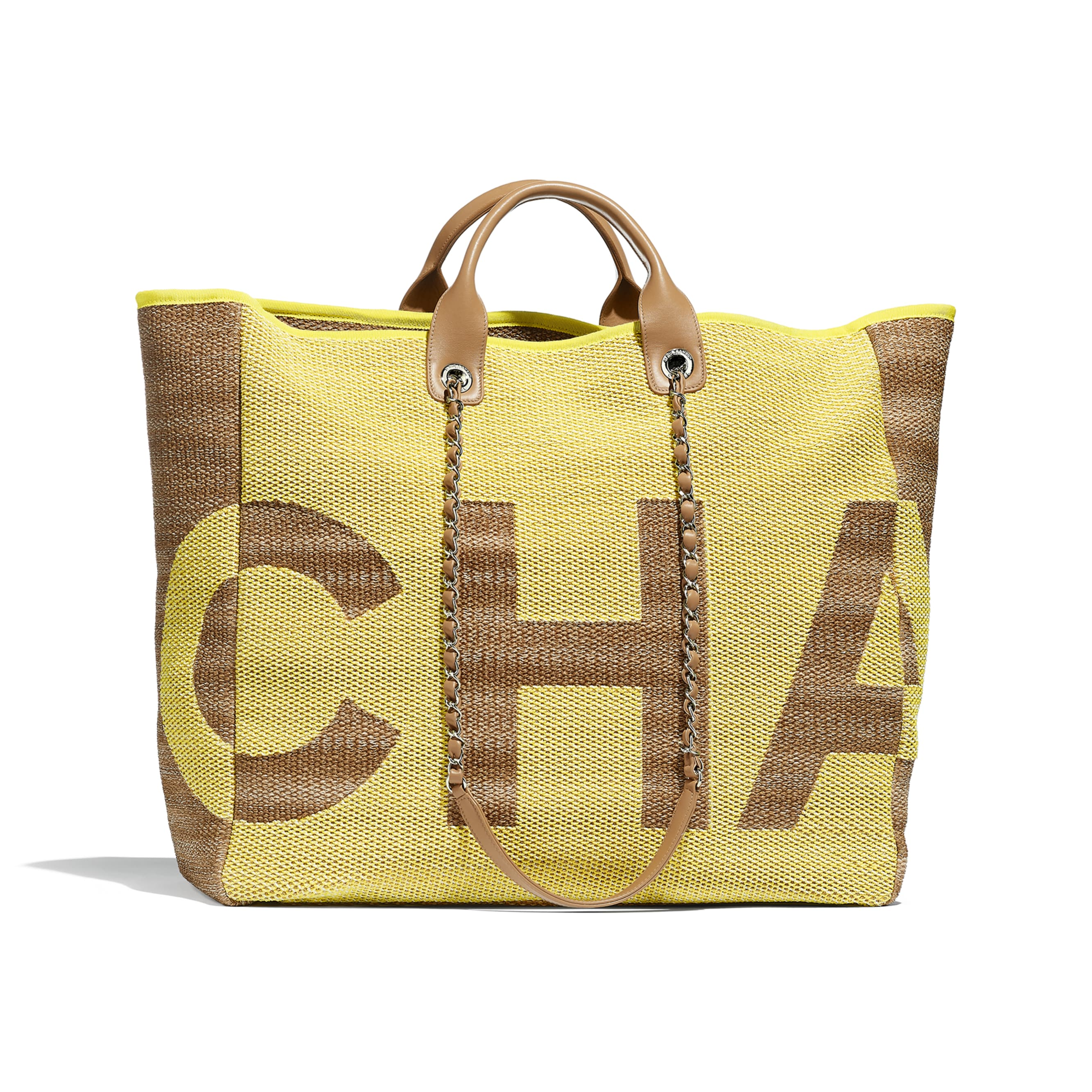 Large Shopping Bag - Yellow & Dark Beige - Mixed Fibers, Viscose, Calfskin & Silver-Tone Metal - Default view - see standard sized version