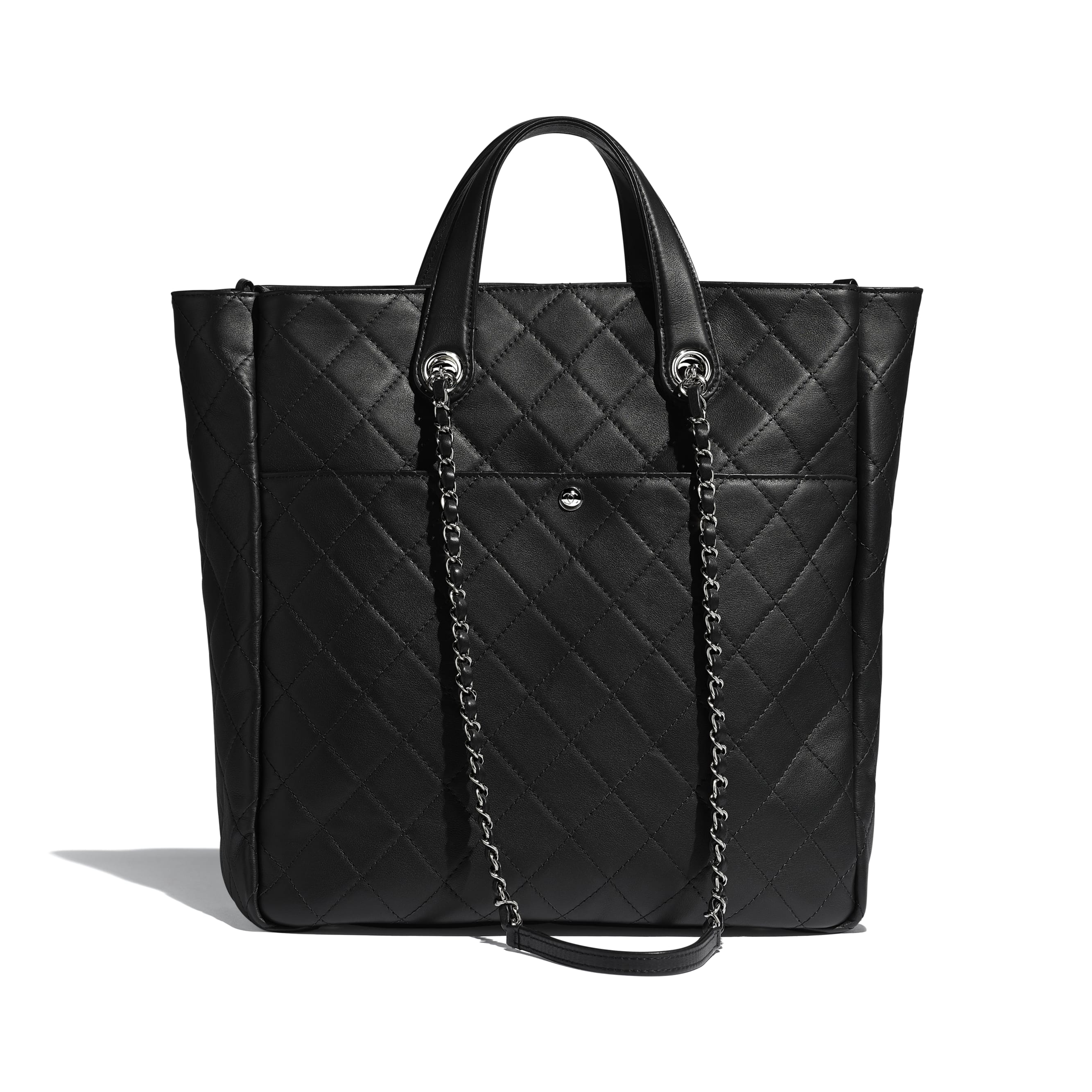 Large Zipped Tote - Black - Calfskin & Silver Metal - Alternative view - see standard sized version