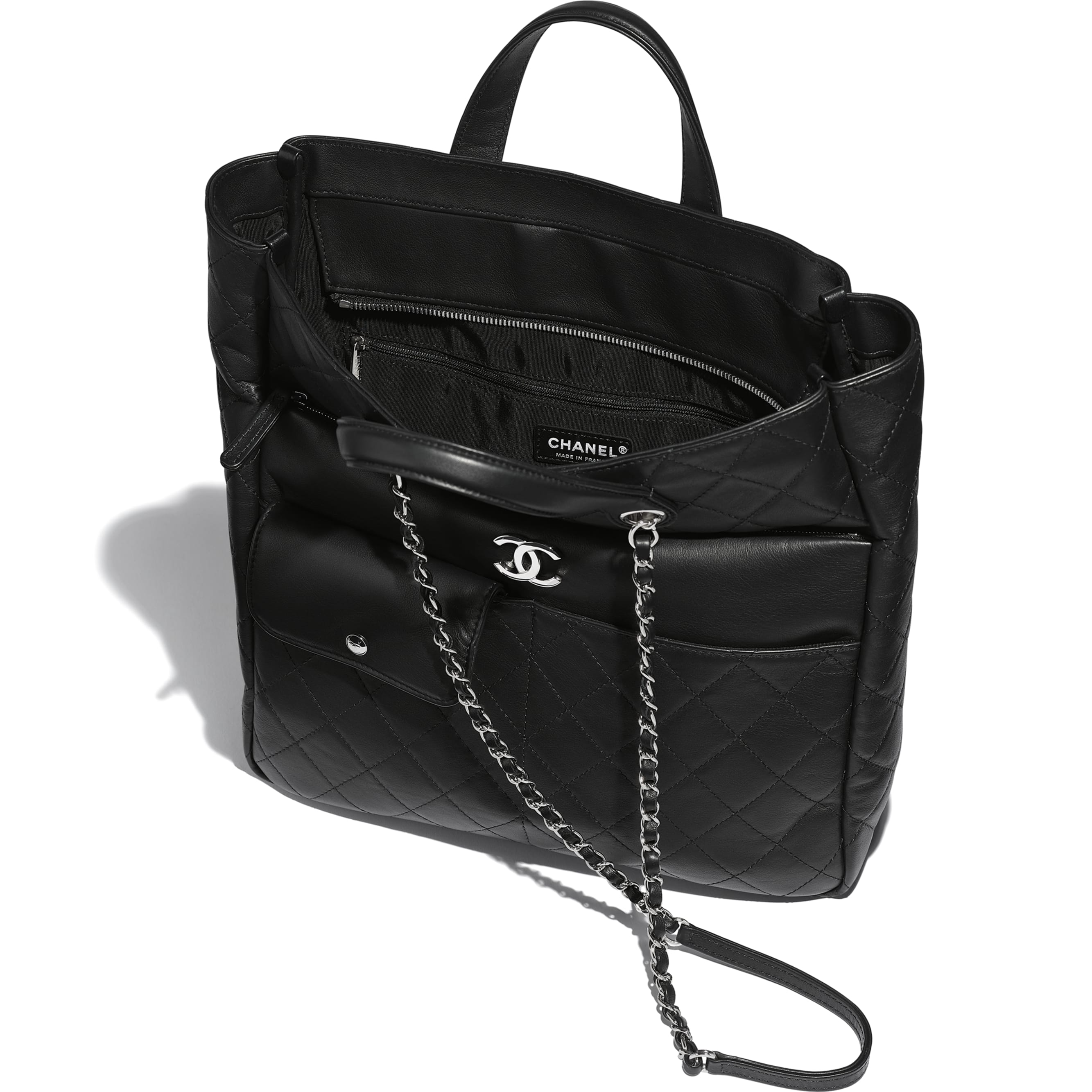 Large Zipped Tote - Black - Calfskin & Silver Metal - Other view - see standard sized version
