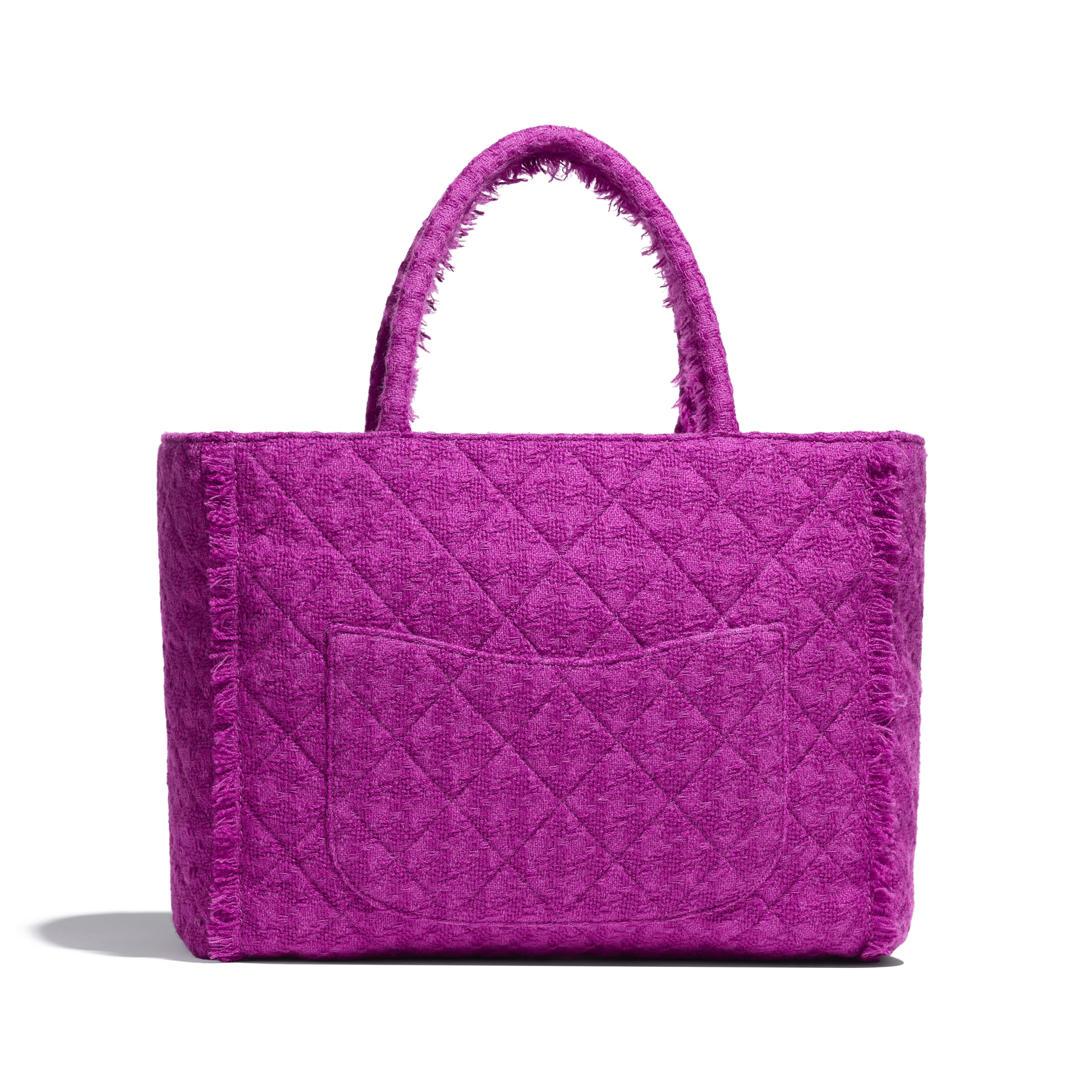 Large Zipped Tote - Fuchsia - Wool Tweed & Gold-Tone Metal - Alternative view - see standard sized version