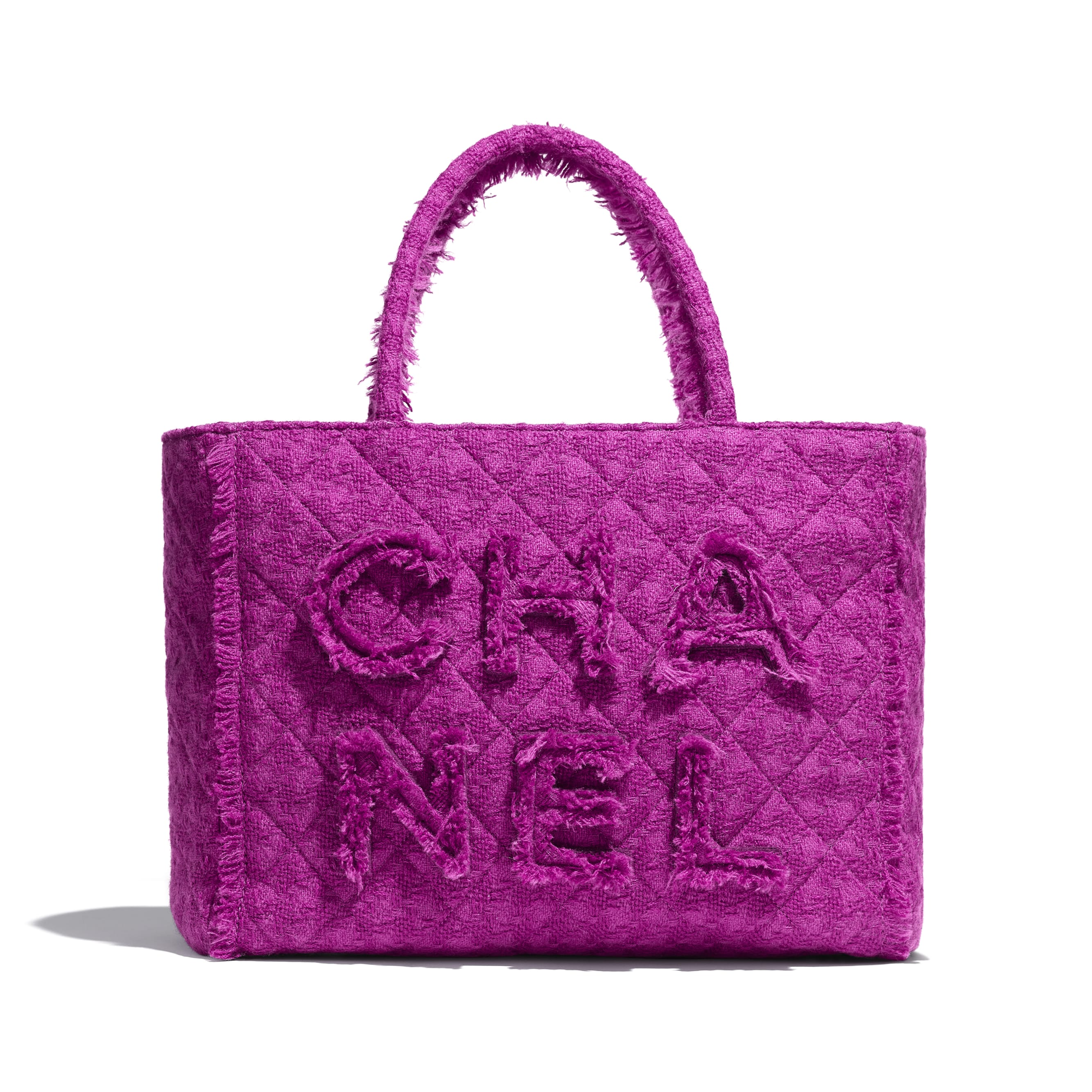 Large Zipped Tote - Fuchsia - Wool Tweed & Gold-Tone Metal - Default view - see standard sized version