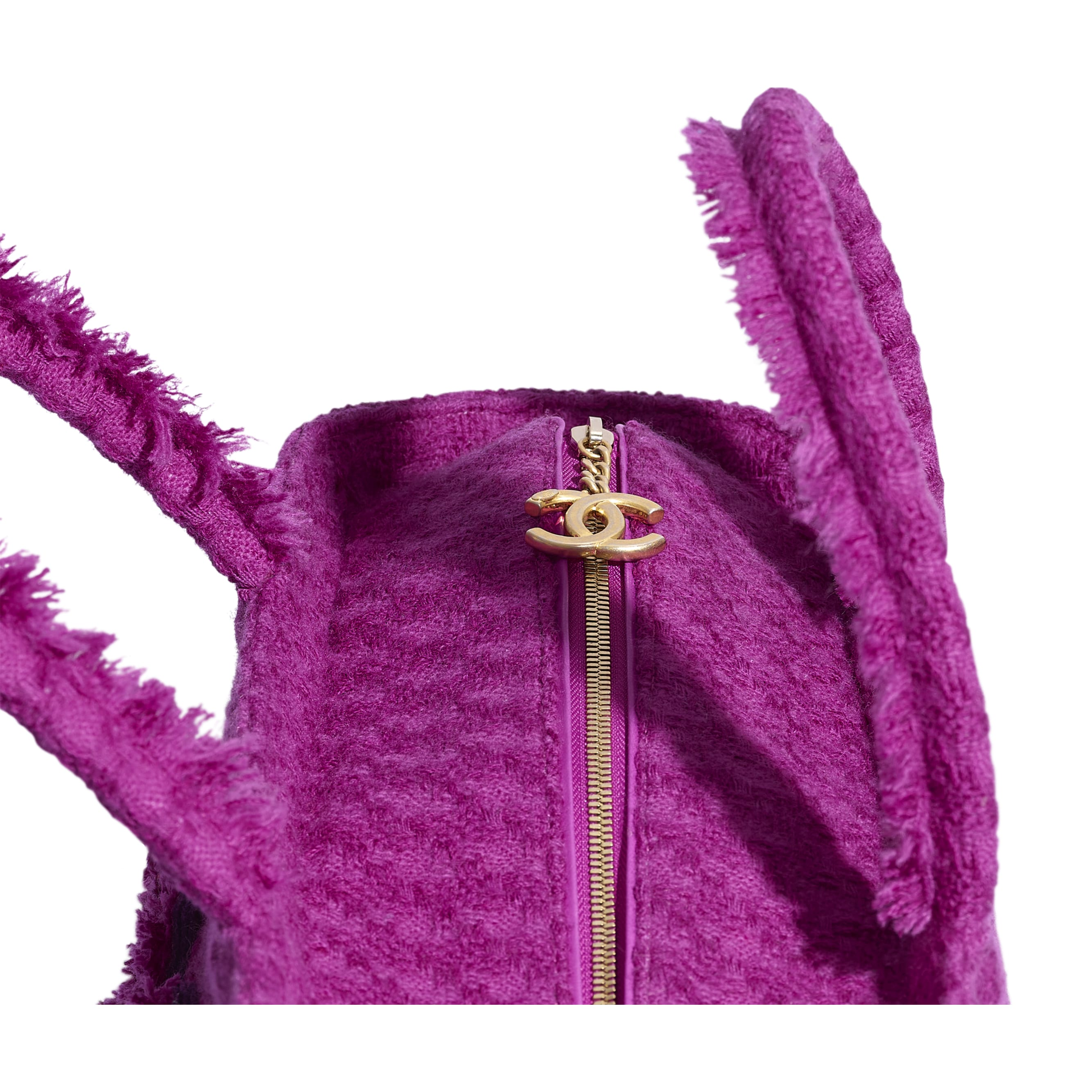 Large Zipped Tote - Fuchsia - Wool Tweed & Gold-Tone Metal - Extra view - see standard sized version