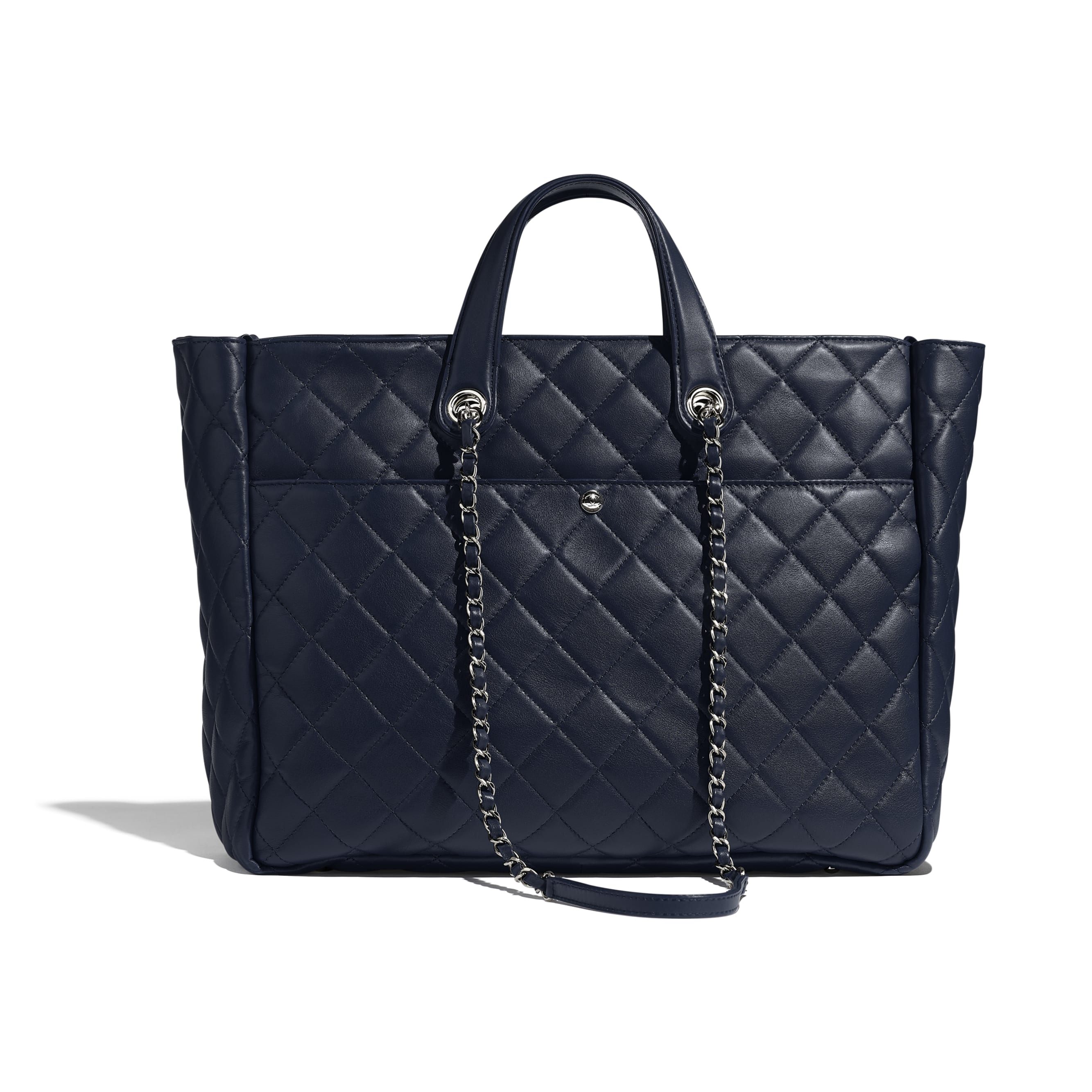Large Zipped Tote - Navy Blue - Calfskin & Silver Metal - Alternative view - see standard sized version