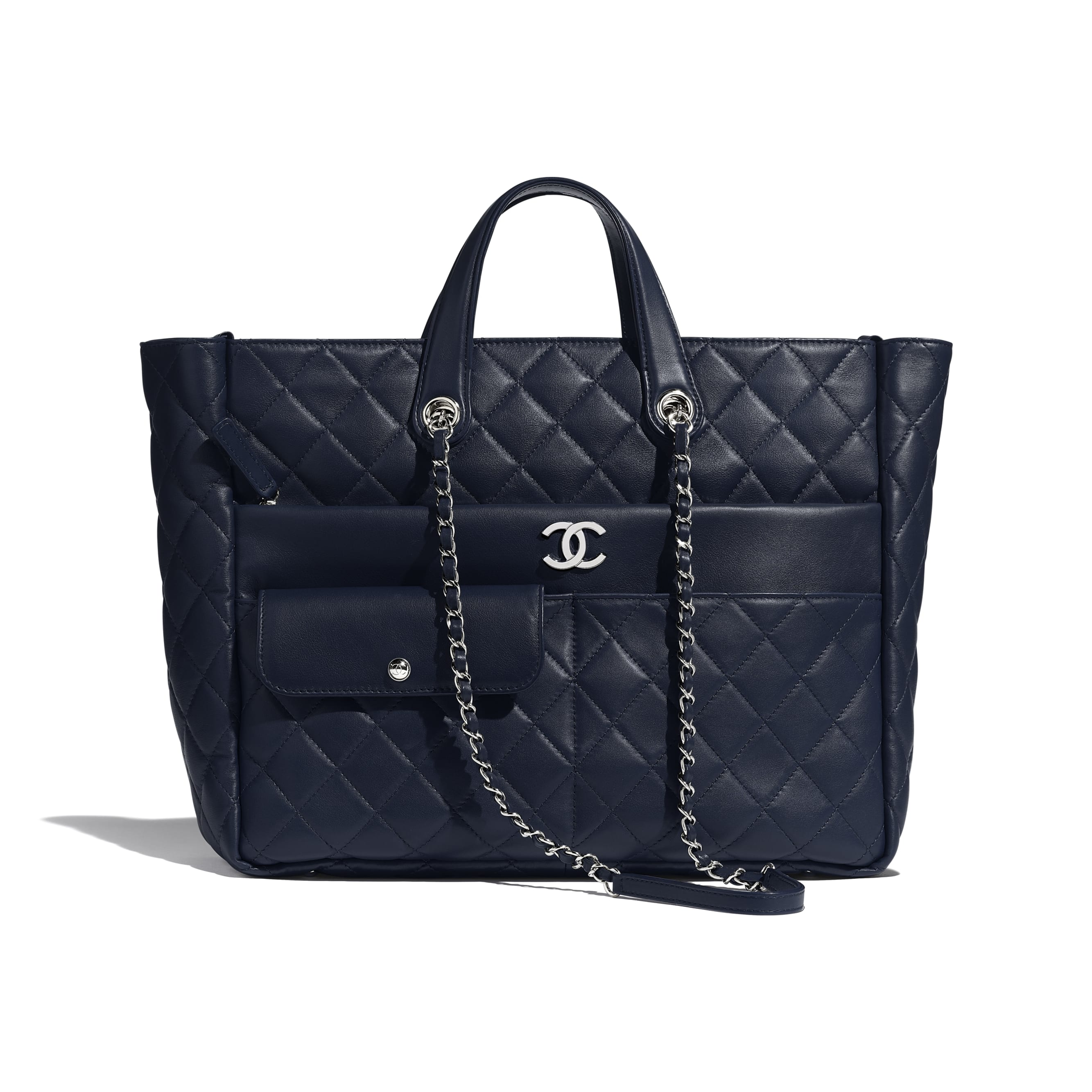Large Zipped Tote - Navy Blue - Calfskin & Silver Metal - Default view - see standard sized version