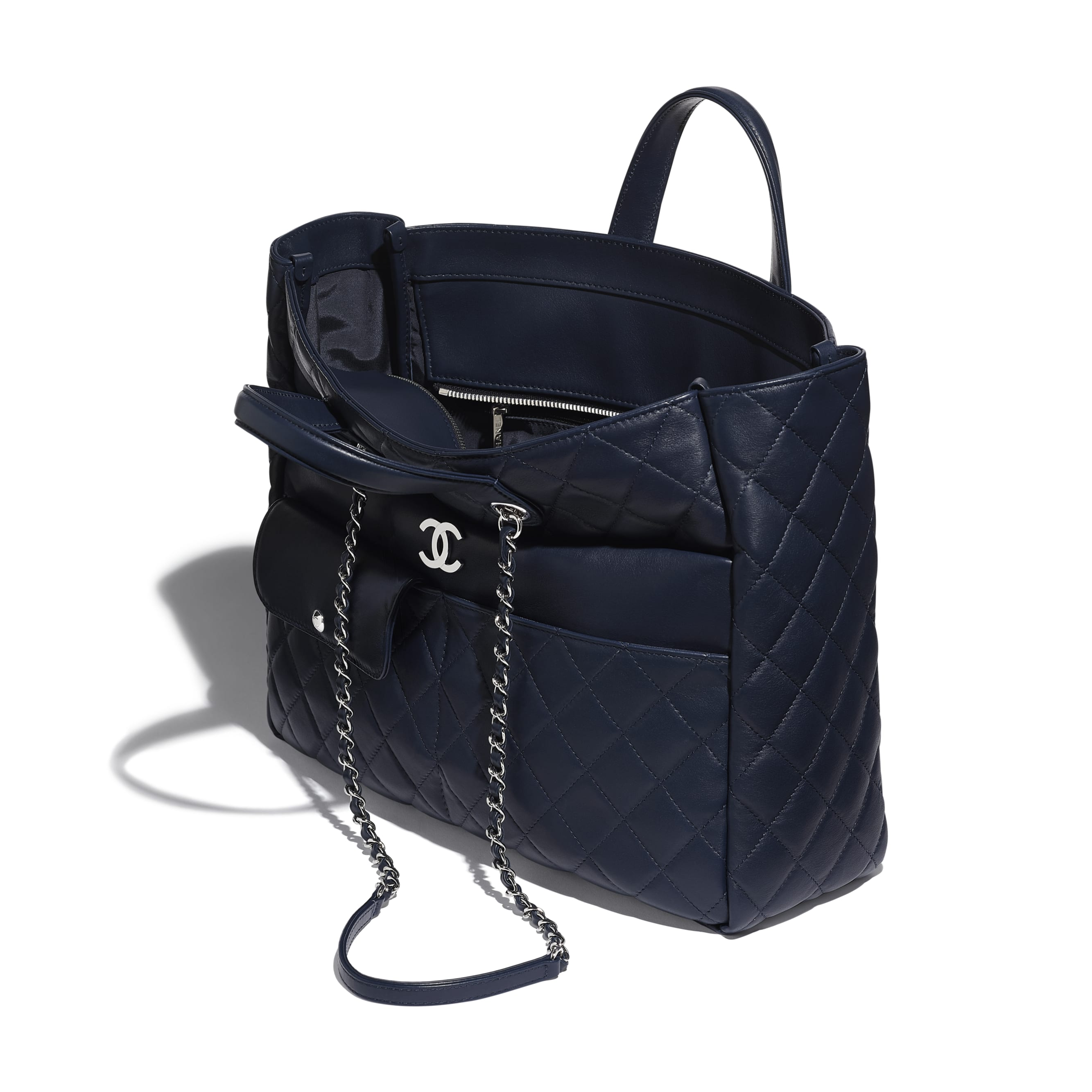 Large Zipped Tote - Navy Blue - Calfskin & Silver Metal - Other view - see standard sized version