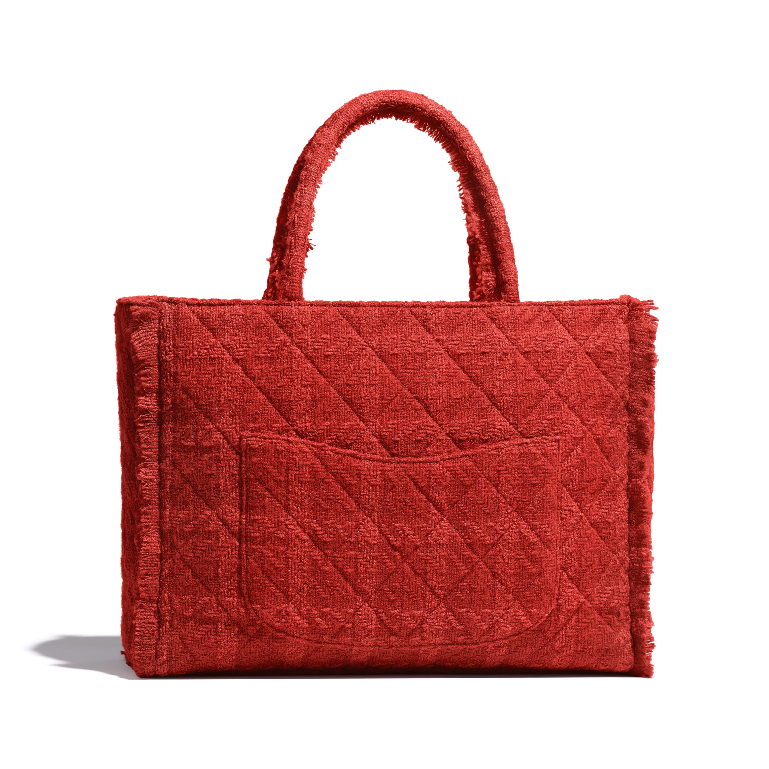 Large Zipped Tote - Red - Wool Tweed & Gold-Tone Metal - Alternative view - see standard sized version