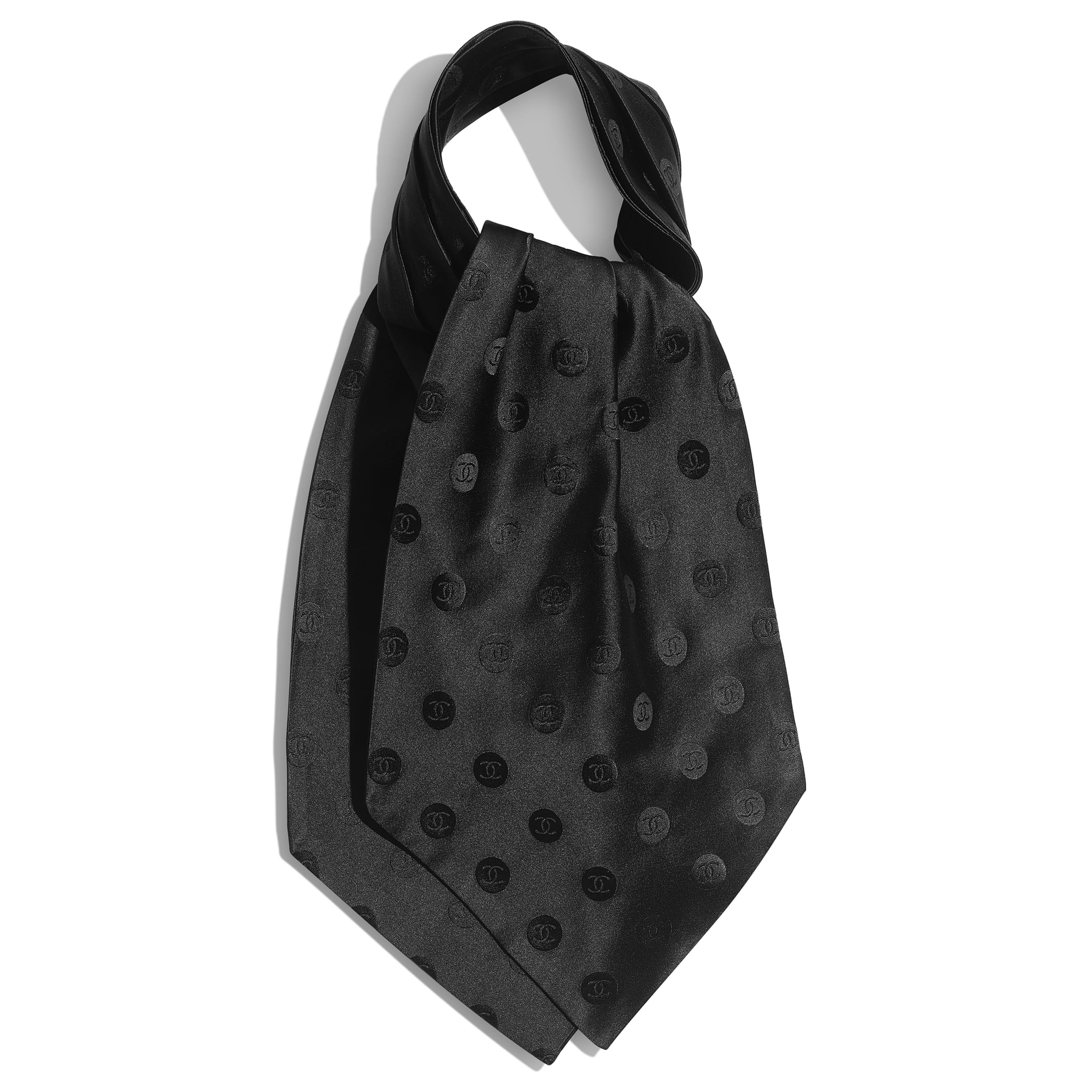 Шарф-лавальер - Черный - Шелковая жаккардовая ткань - CHANEL - Вид по умолчанию - посмотреть изображение стандартного размера