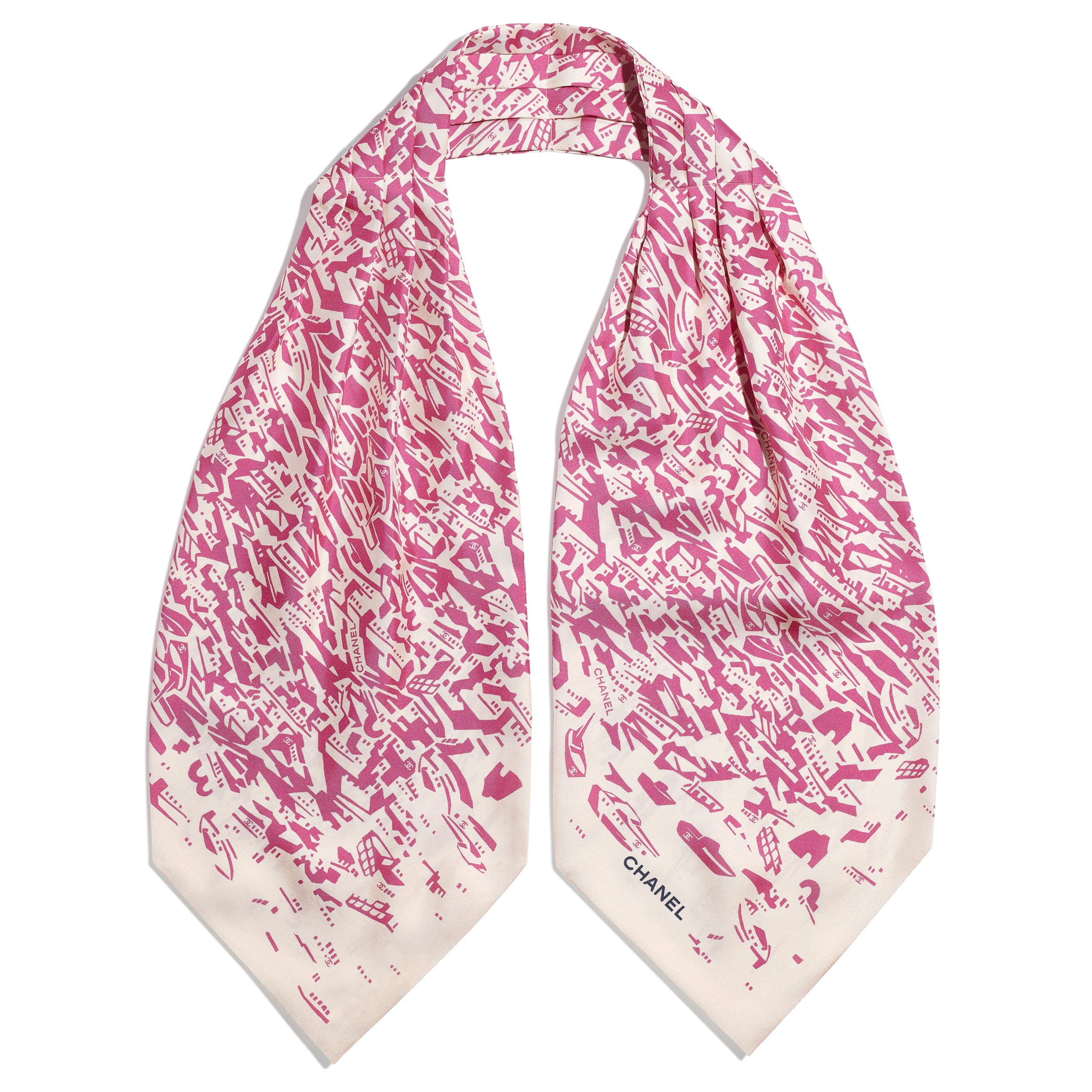 Lavaliere - Pink & Ecru - Silk Twill - CHANEL - Alternative view - see standard sized version