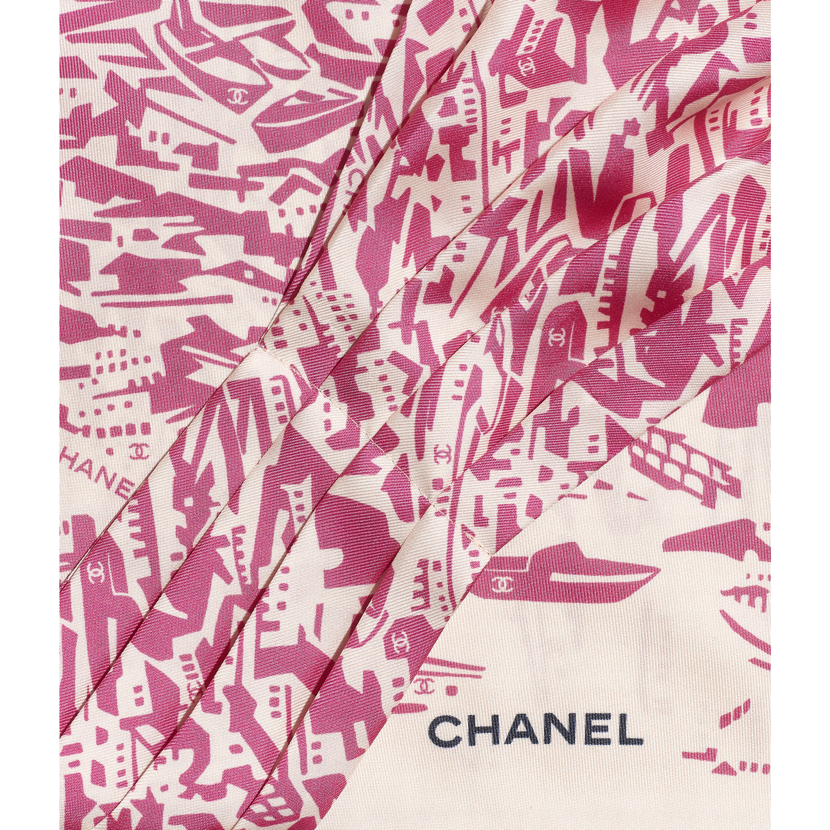 Lavaliere - Pink & Ecru - Silk Twill - CHANEL - Other view - see standard sized version