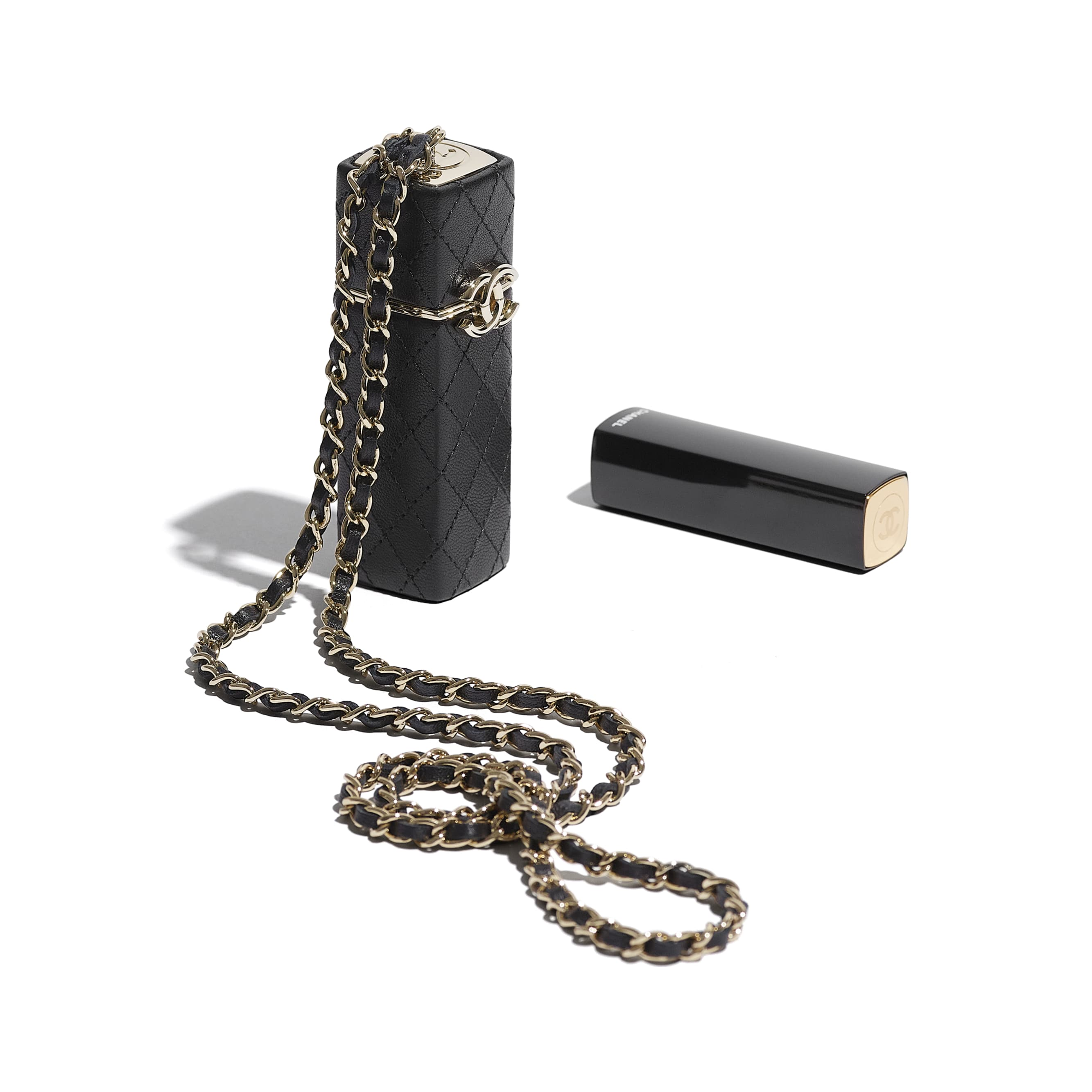 Lipstick Case - Black - Lambskin - CHANEL - Extra view - see standard sized version