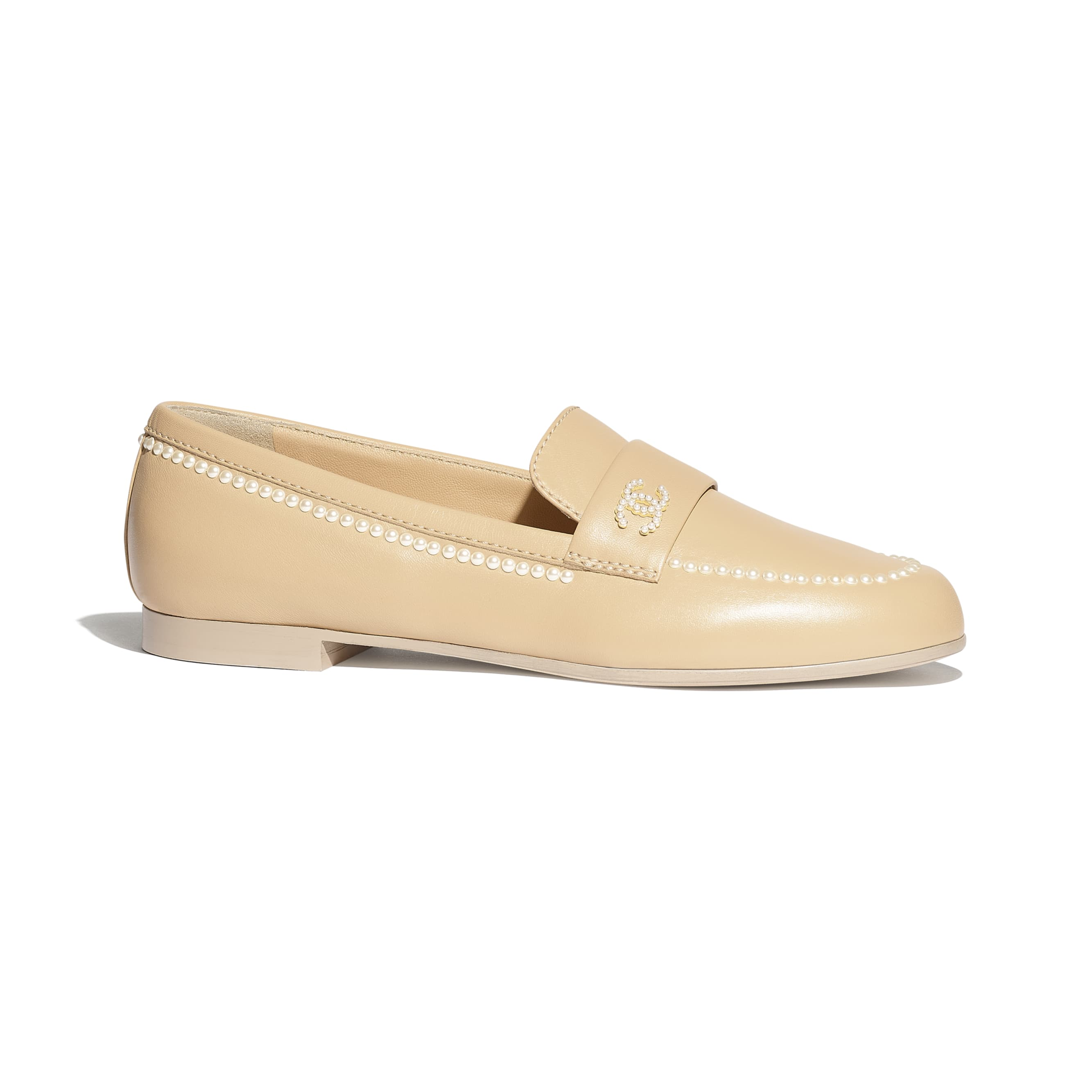 Loafers - Beige - Lambskin - Default view - see standard sized version