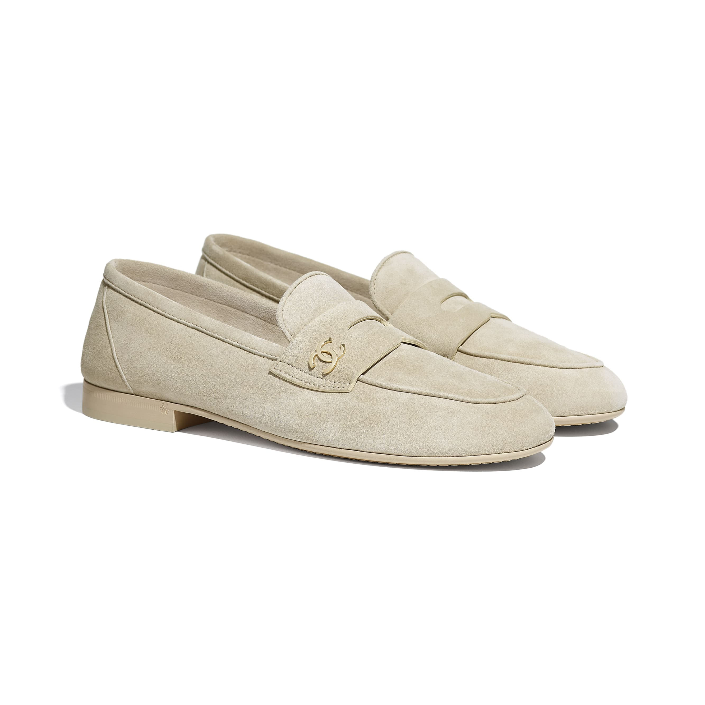 Loafers - Beige - Suede Calfskin - CHANEL - Alternative view - see standard sized version