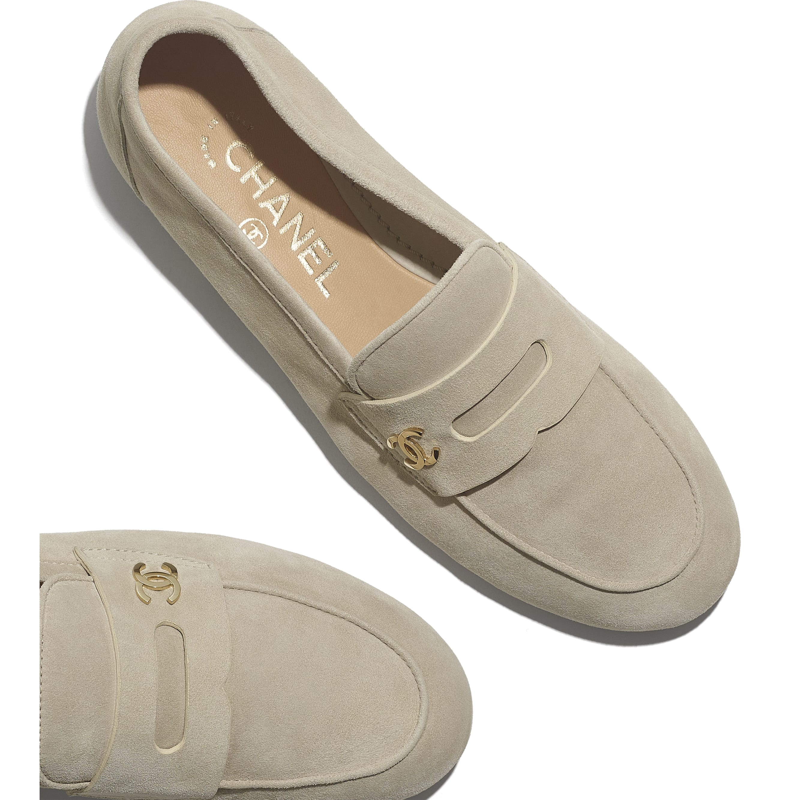 Loafers - Beige - Suede Calfskin - CHANEL - Extra view - see standard sized version