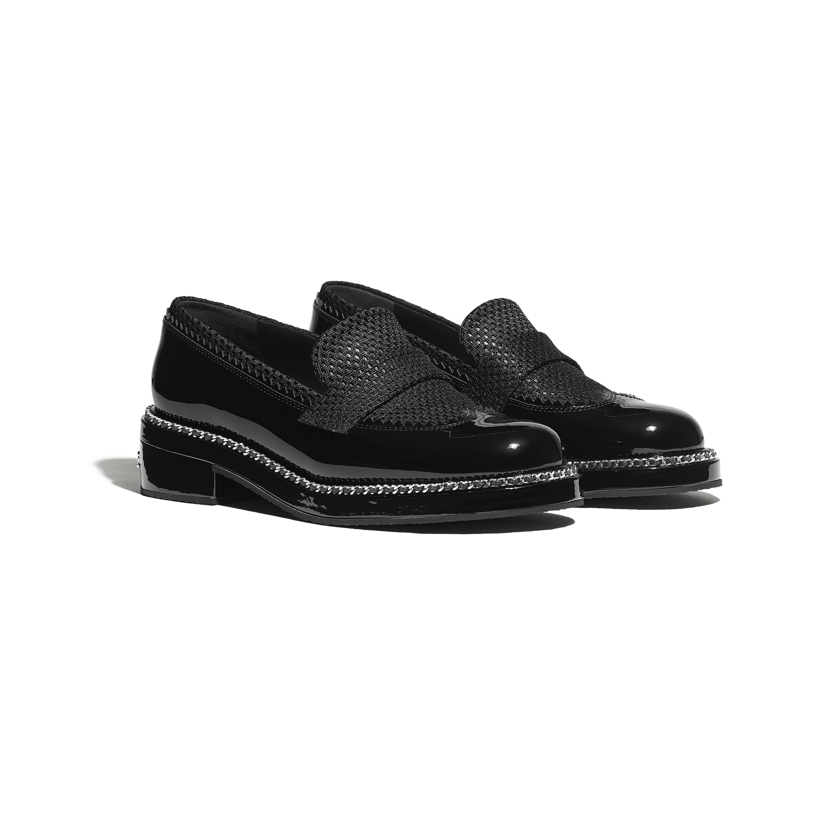 Loafers - Black - Patent Calfskin & Mixed Fibers - Alternative view - see standard sized version
