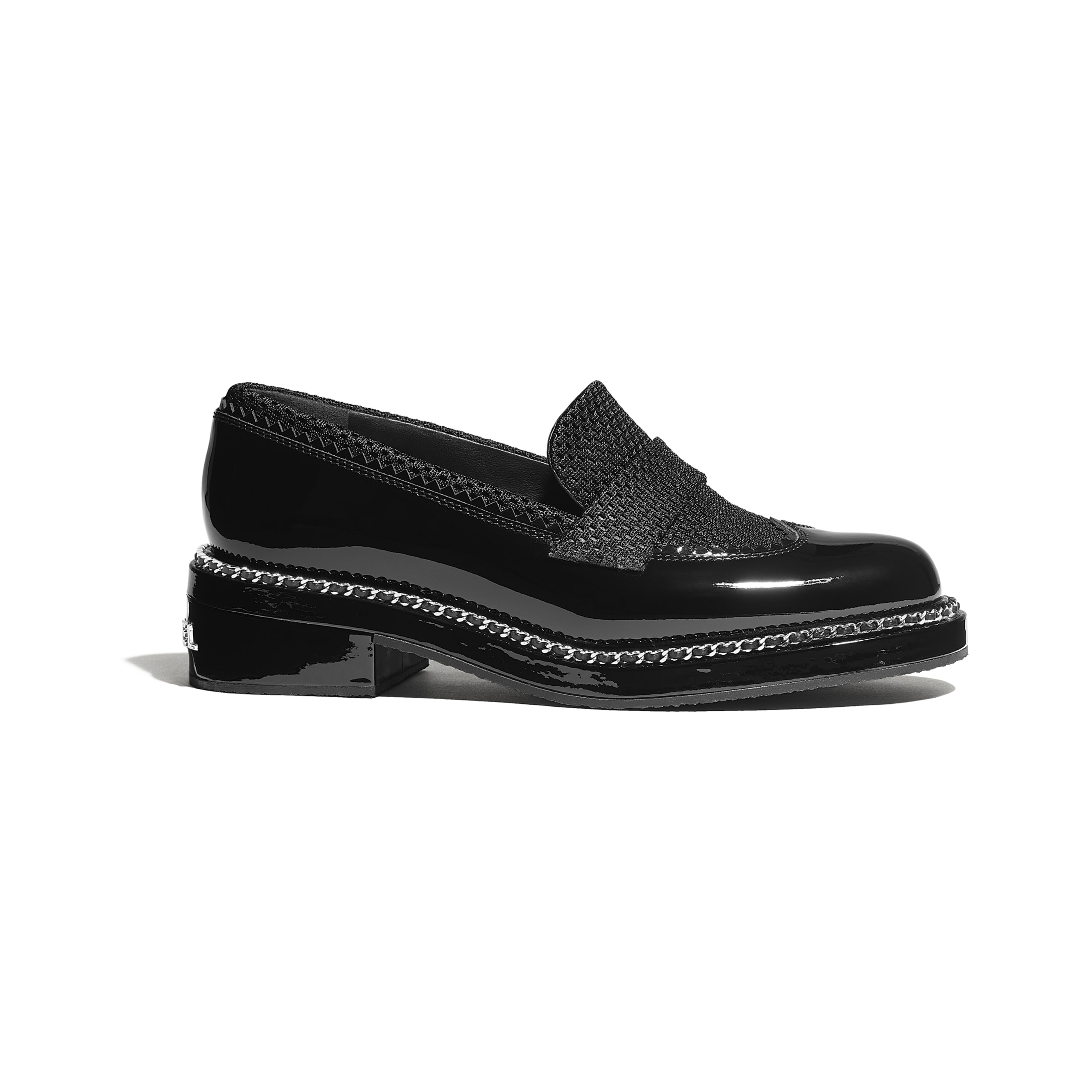 Loafers - Black - Patent Calfskin & Mixed Fibers - Default view - see standard sized version