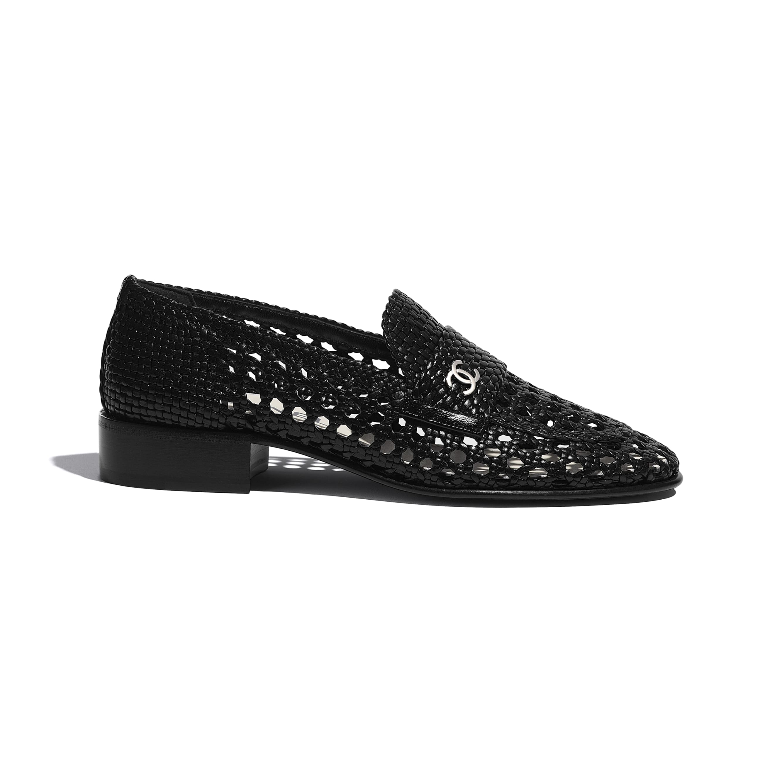 Loafers - Black - Shiny Braided Goatskin - CHANEL - Default view - see standard sized version