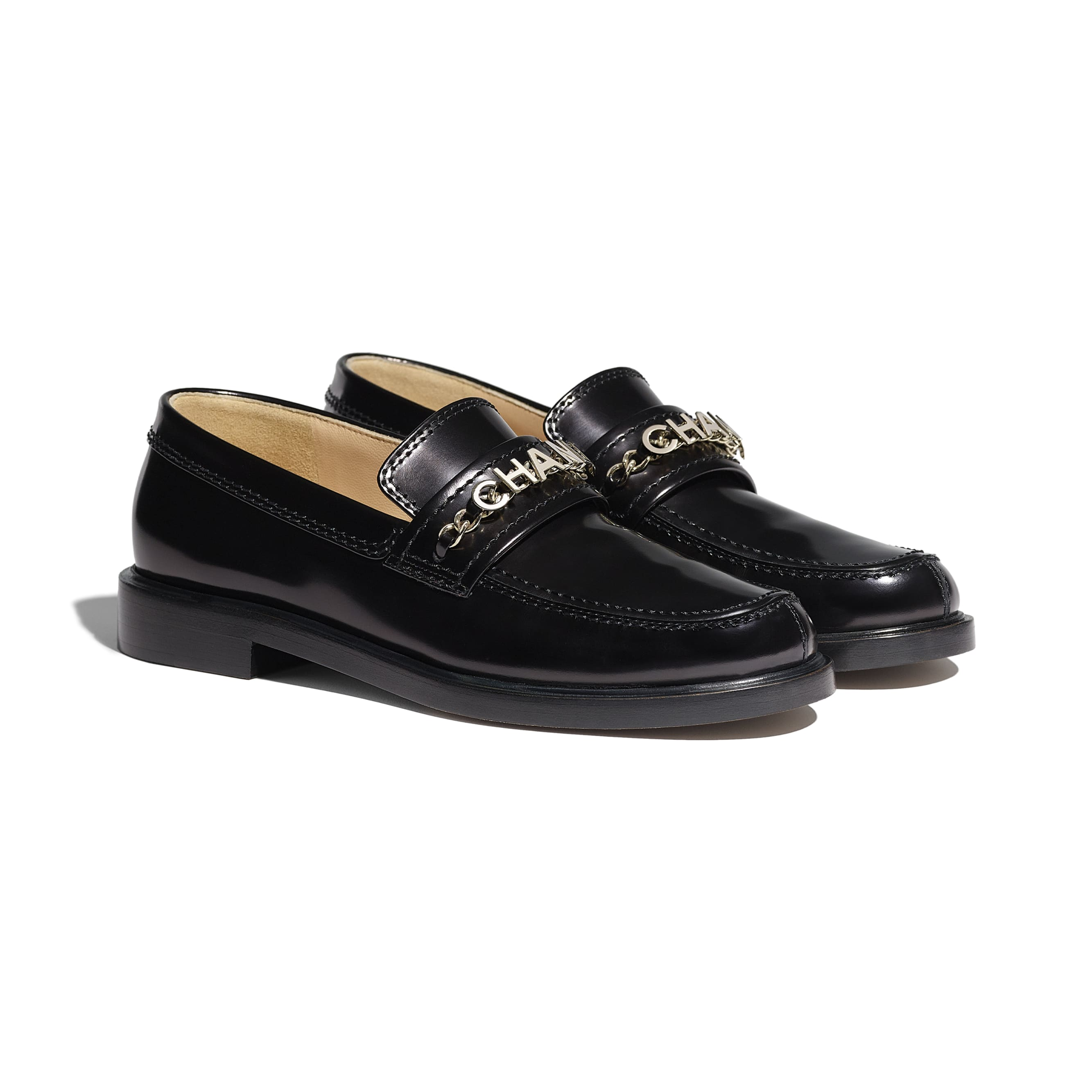 Loafers - Black - Shiny Calfskin - CHANEL - Alternative view - see standard sized version