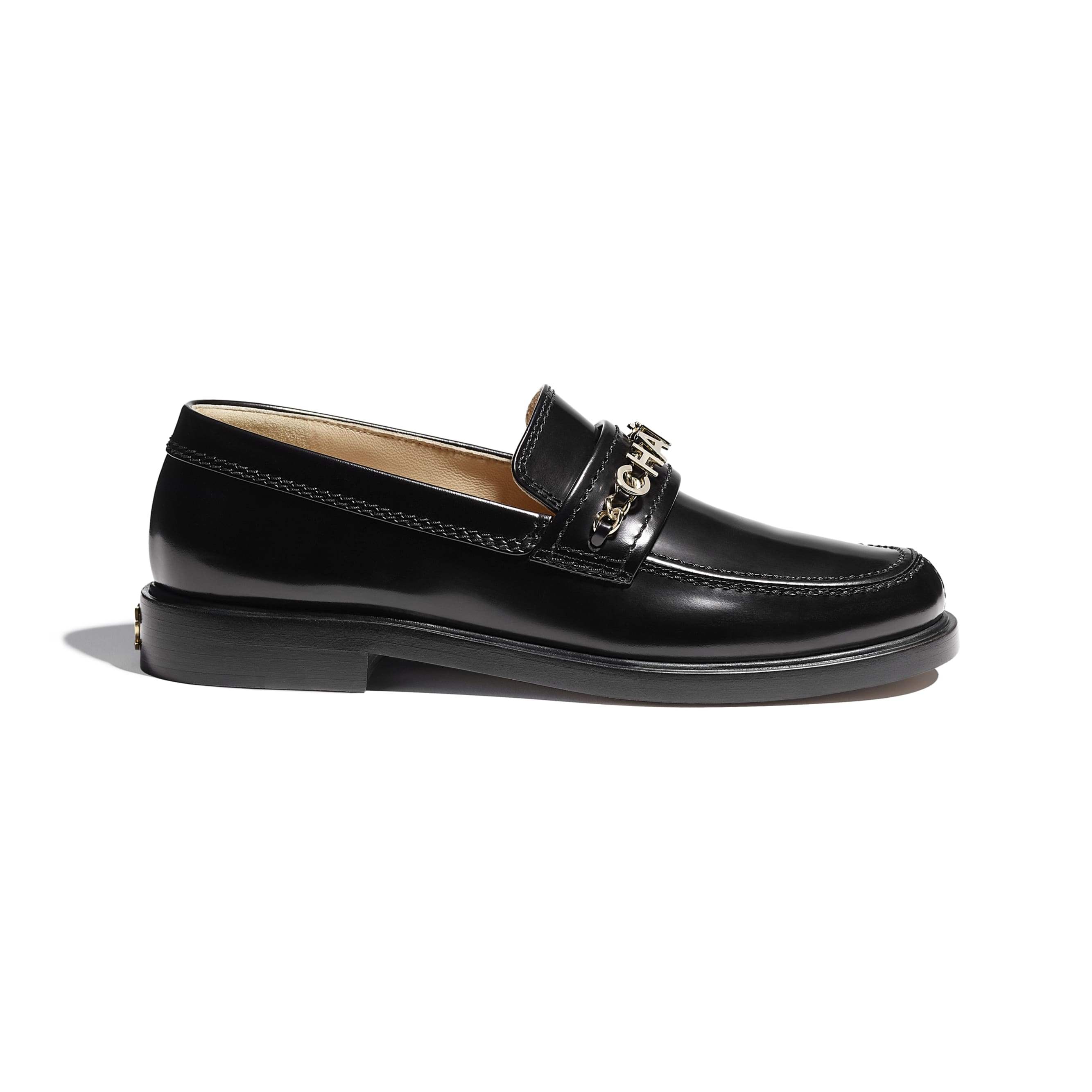 Loafers - Black - Shiny Calfskin - CHANEL - Default view - see standard sized version