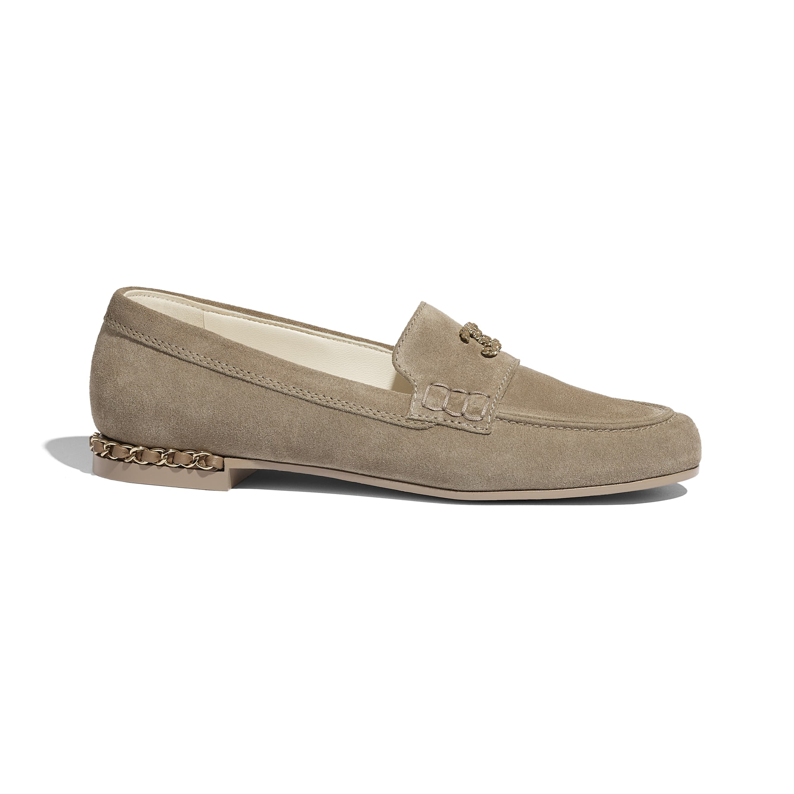 Loafers - Dark Beige - Suede Calfskin - CHANEL - Default view - see standard sized version