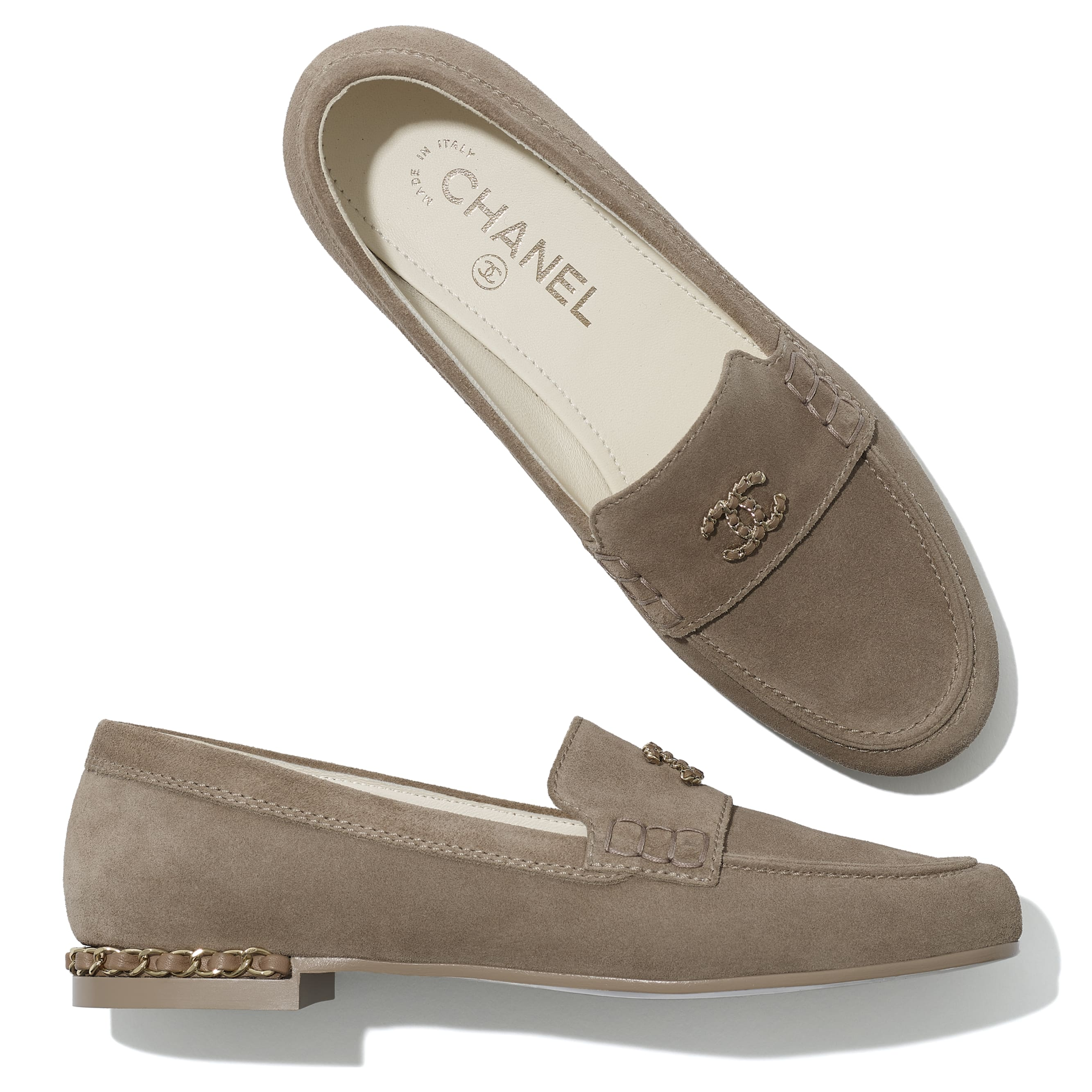 Loafers - Dark Beige - Suede Calfskin - CHANEL - Extra view - see standard sized version