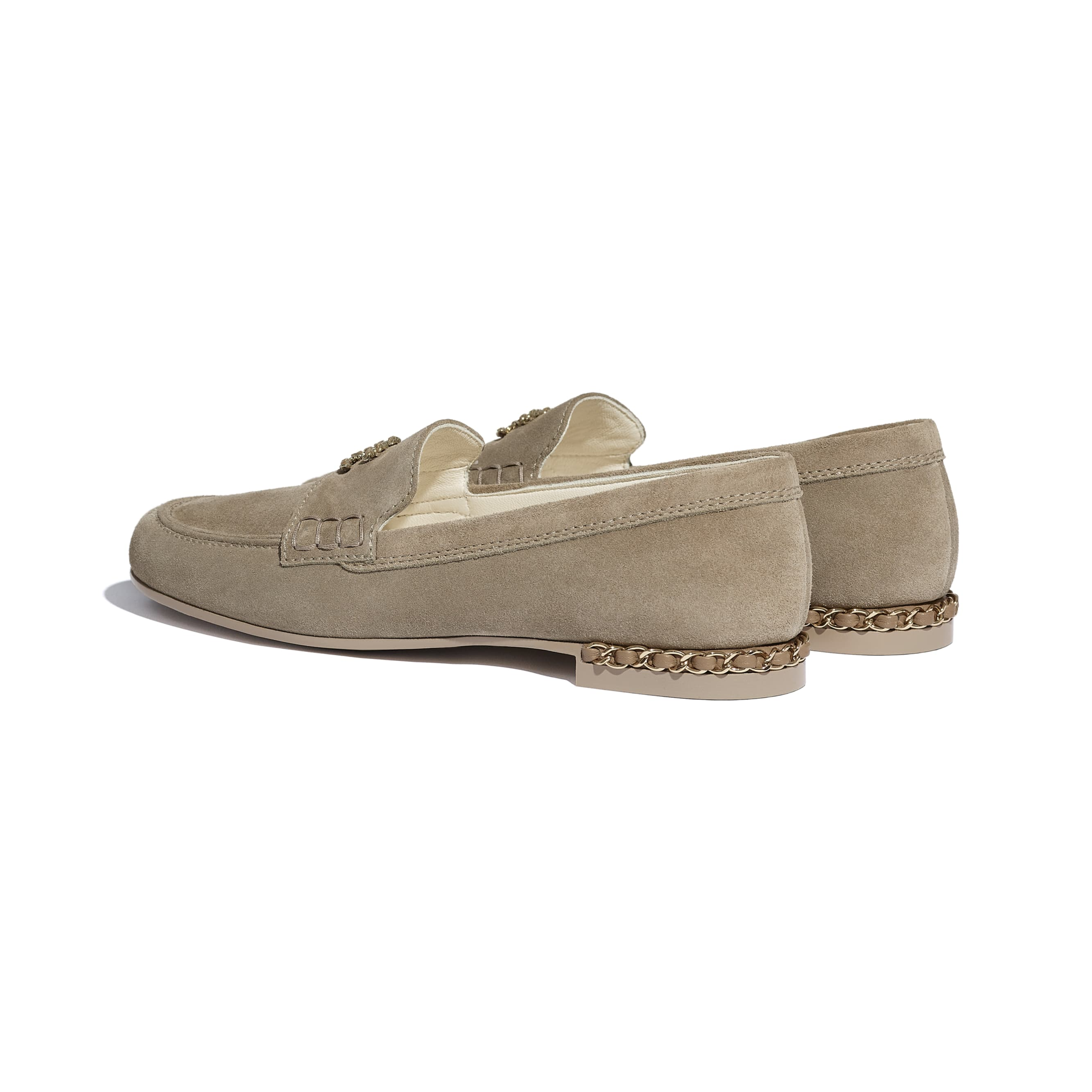 Loafers - Dark Beige - Suede Calfskin - CHANEL - Other view - see standard sized version