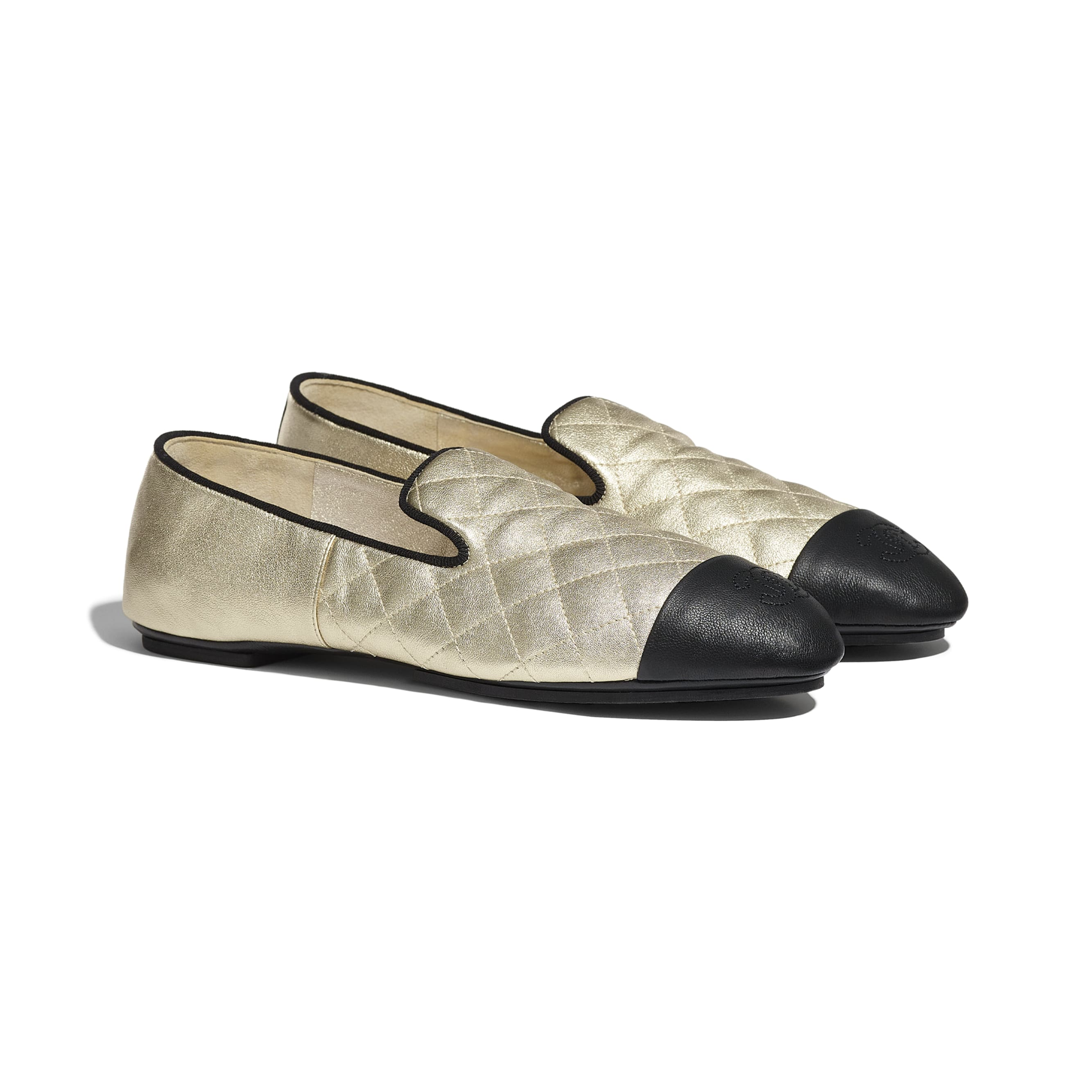 Loafers - Gold & Black - Laminated Lambskin & Lambskin - CHANEL - Alternative view - see standard sized version