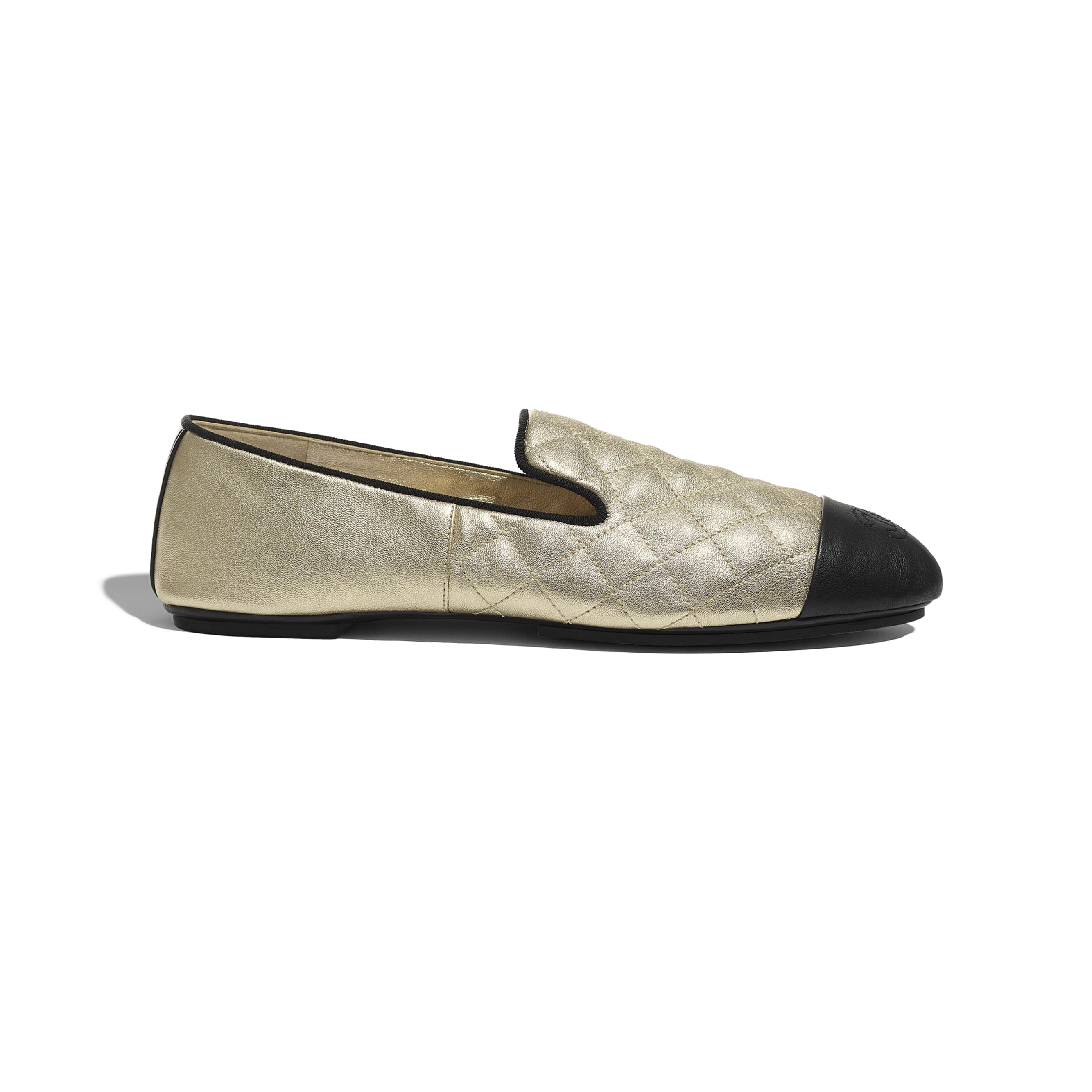 Loafers - Gold & Black - Laminated Lambskin & Lambskin - CHANEL - Default view - see standard sized version
