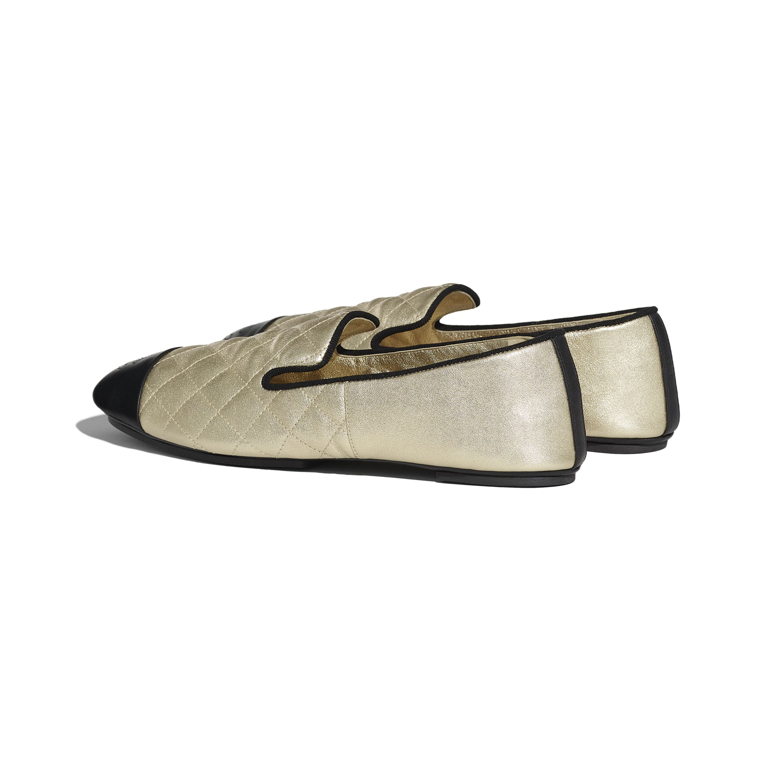 Loafers - Gold & Black - Laminated Lambskin & Lambskin - CHANEL - Other view - see standard sized version