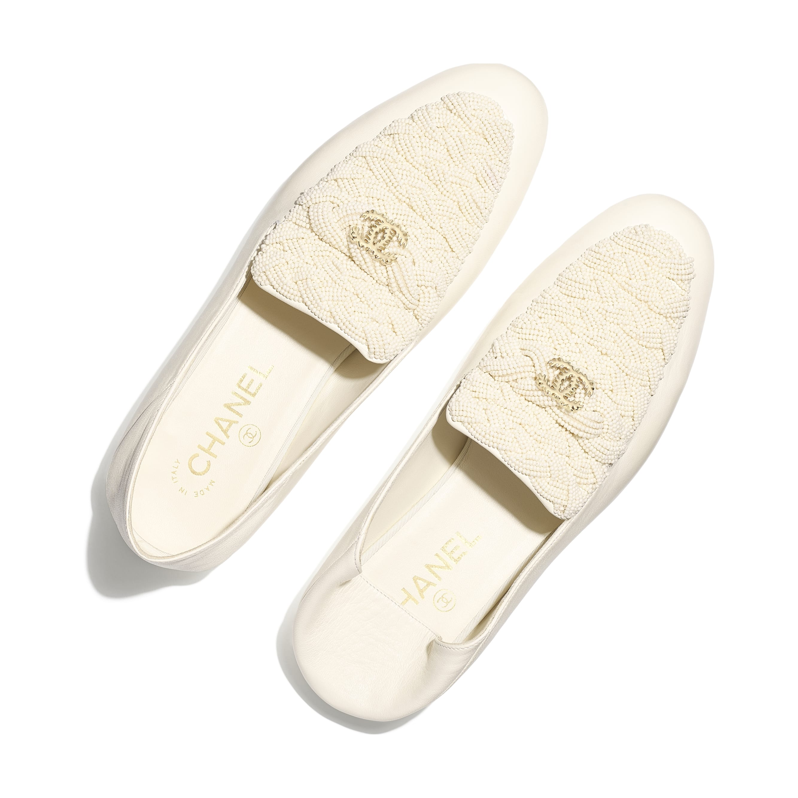 Loafers - Ivory - Pearls & Lambskin - Extra view - see standard sized version