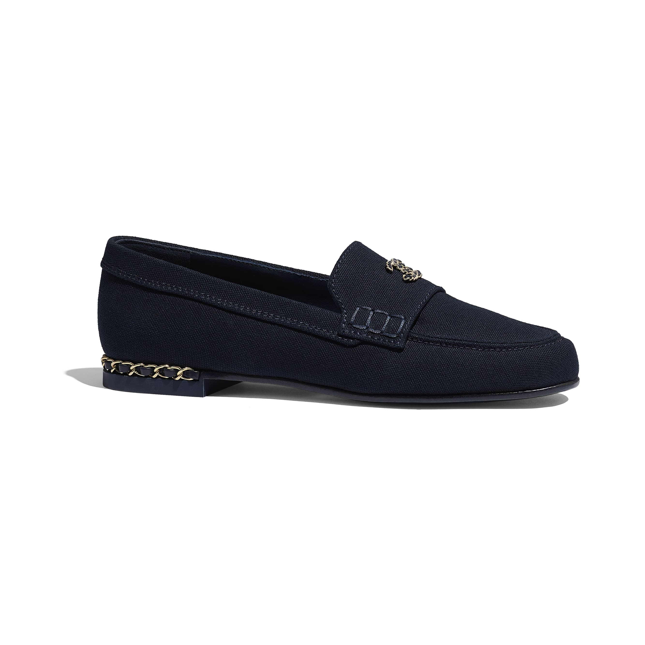 Loafers - Navy Blue - Cotton Canvas & Lambskin - CHANEL - Default view - see standard sized version