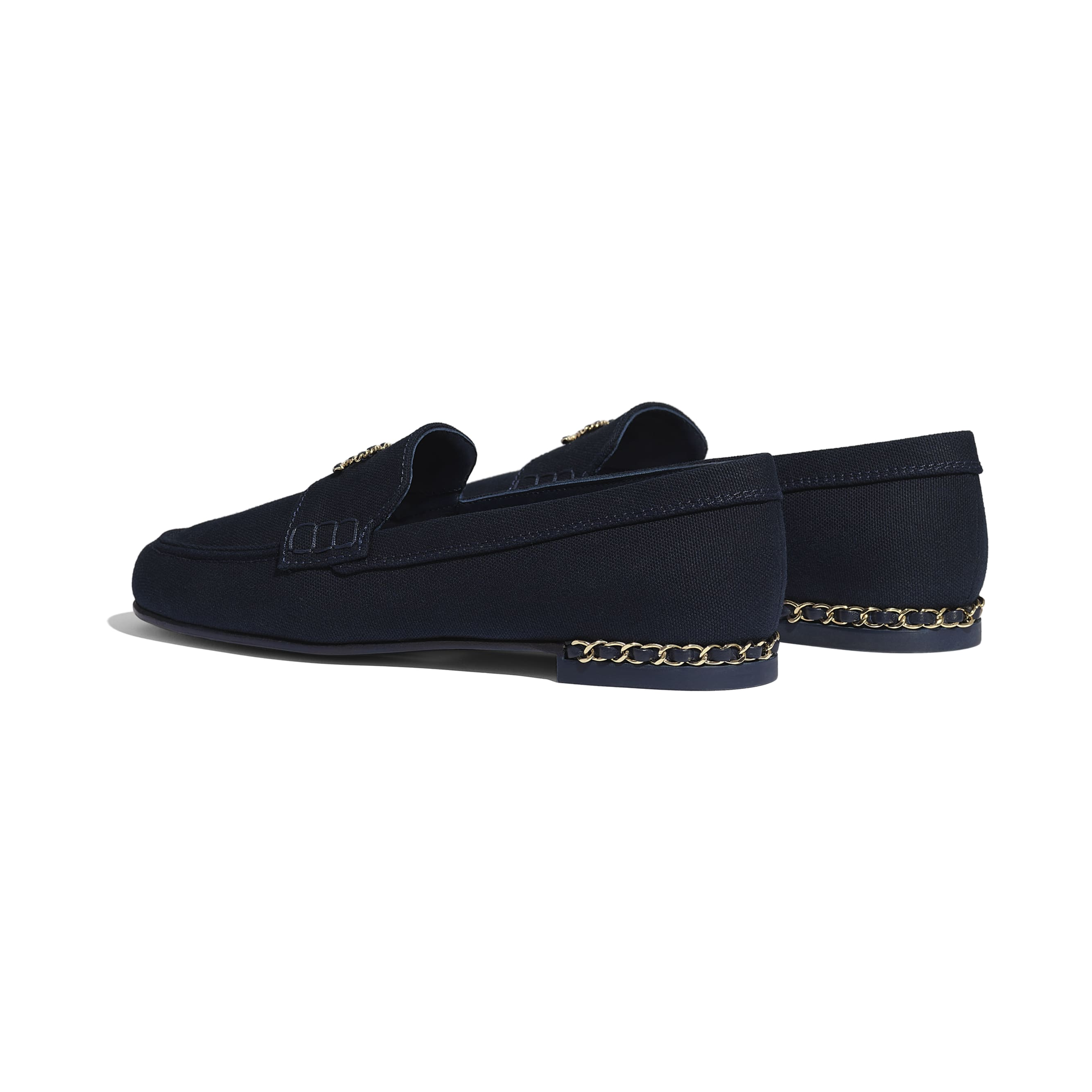 Loafers - Navy Blue - Cotton Canvas & Lambskin - CHANEL - Other view - see standard sized version