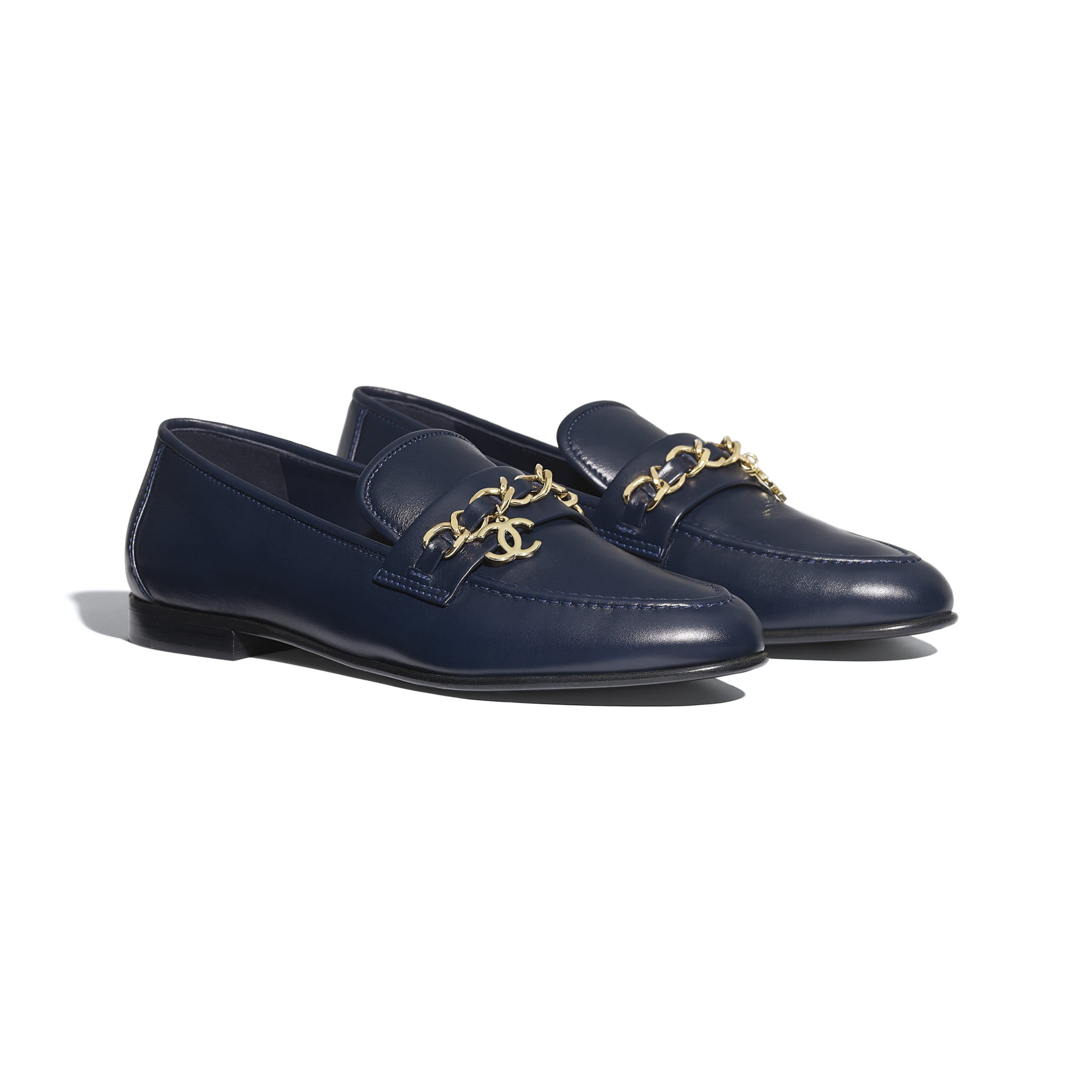 Loafers - Navy Blue - Lambskin - CHANEL - Alternative view - see standard sized version